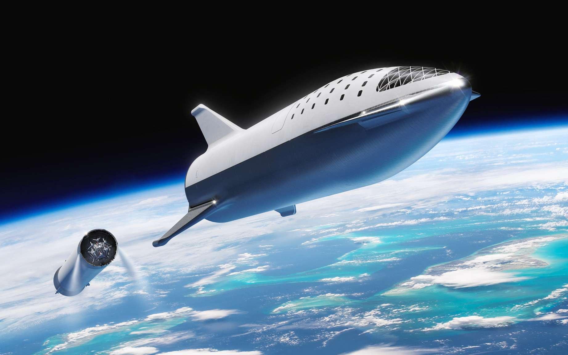Le Super Heavy et le Starship de SpaceX. Le Starship devrait mesurer 55 m de haut pour un diamètre de 9 m et être propulsé par 7 moteurs Raptor d'une poussée de 11,9 méganewtons. Pour Super Heavy (l'étage principal), il aurait un même diamètre pour une hauteur de 63 m et être propulsé par 31 moteurs Raptor. Ensemble, ces moteurs généreront une poussée au décollage de 52,7 méganewtons. © SpaceX