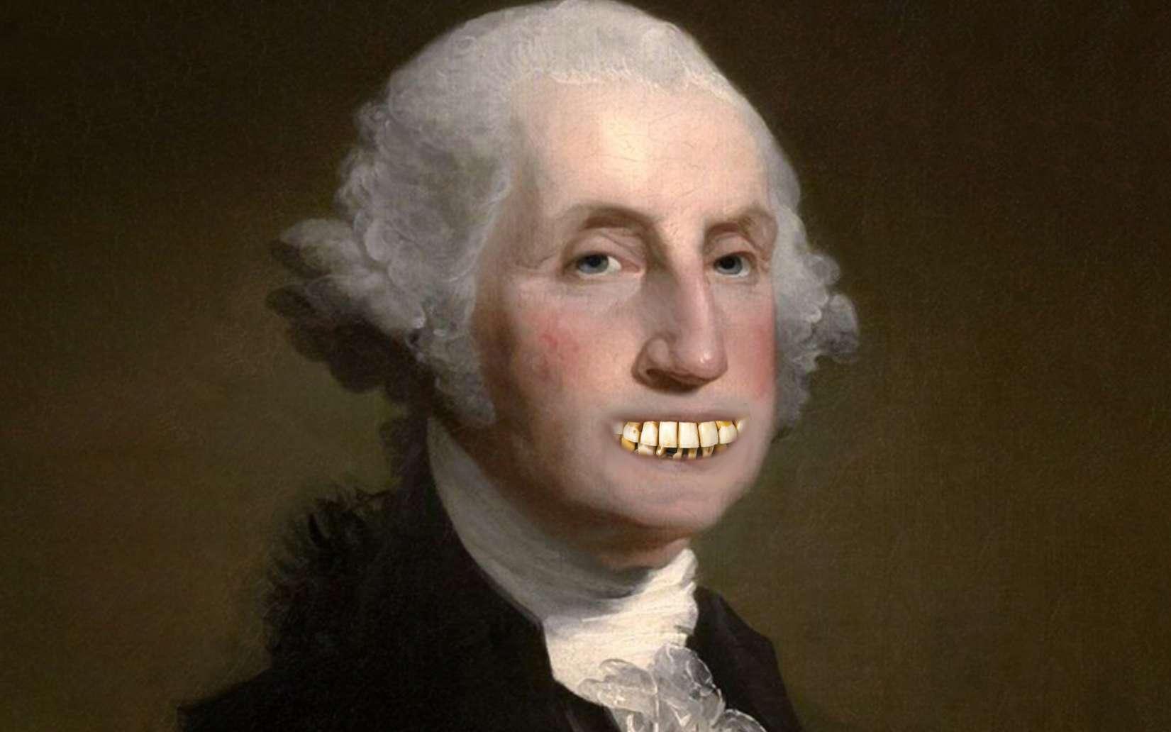 George Washington portait des dentiers faits en toutes sortes de matériaux. © Mount Vernon, Wikimedia Commons, Emma Hollen