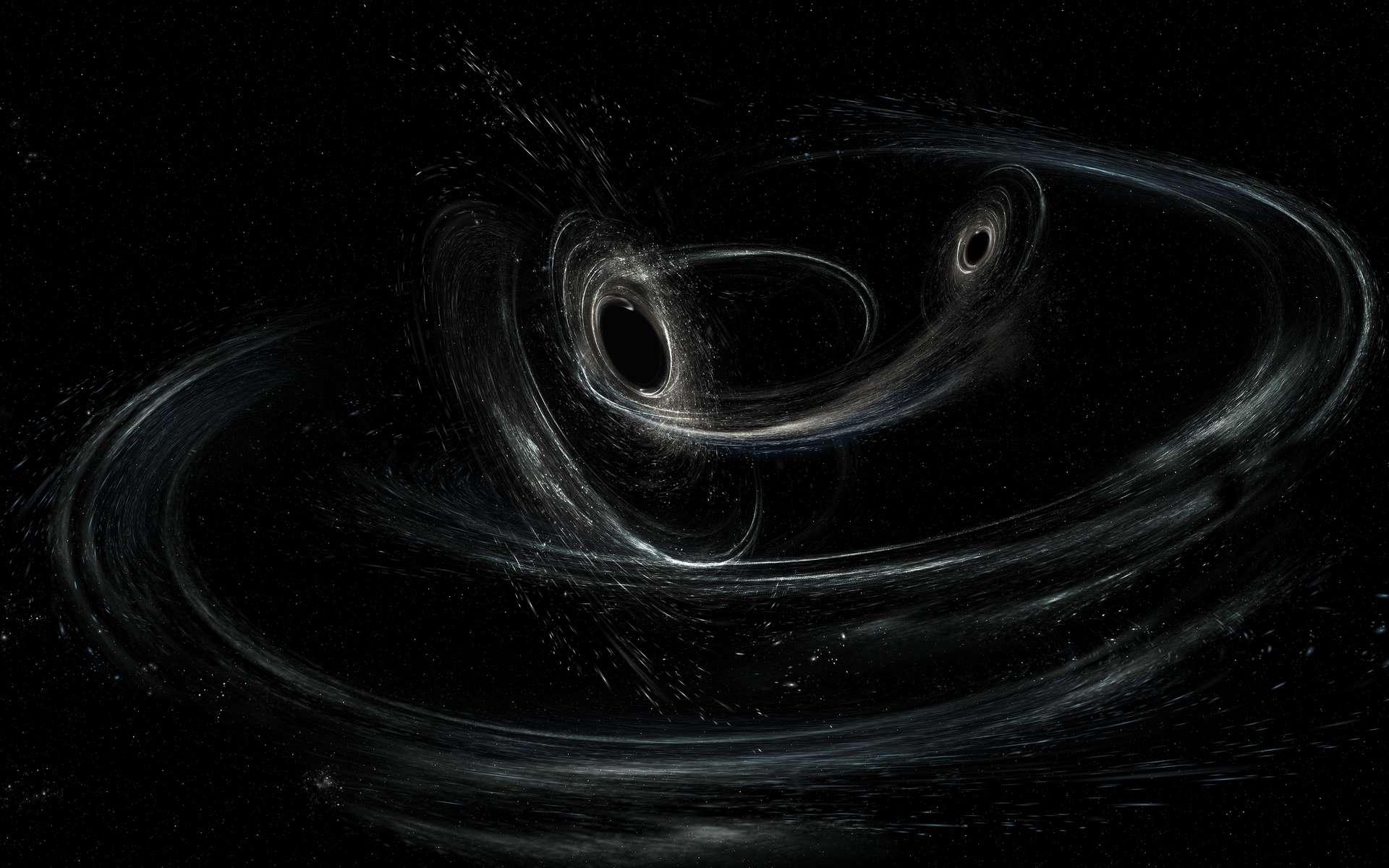 Une vue d'artiste de deux trous noirs formant un système binaire. © Aurore Simonnet