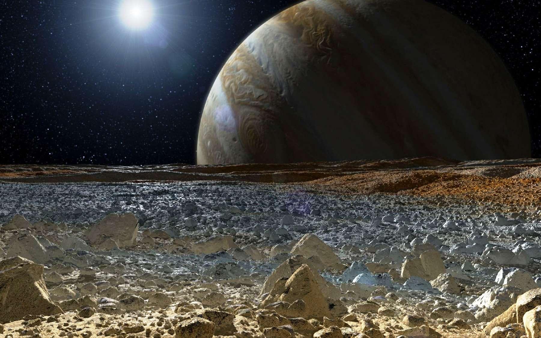 La lune de Jupiter, Europe, abrite sous sa surface glacée un océan qui pourrait abriter la vie. © Nasa, JPL-Caltech