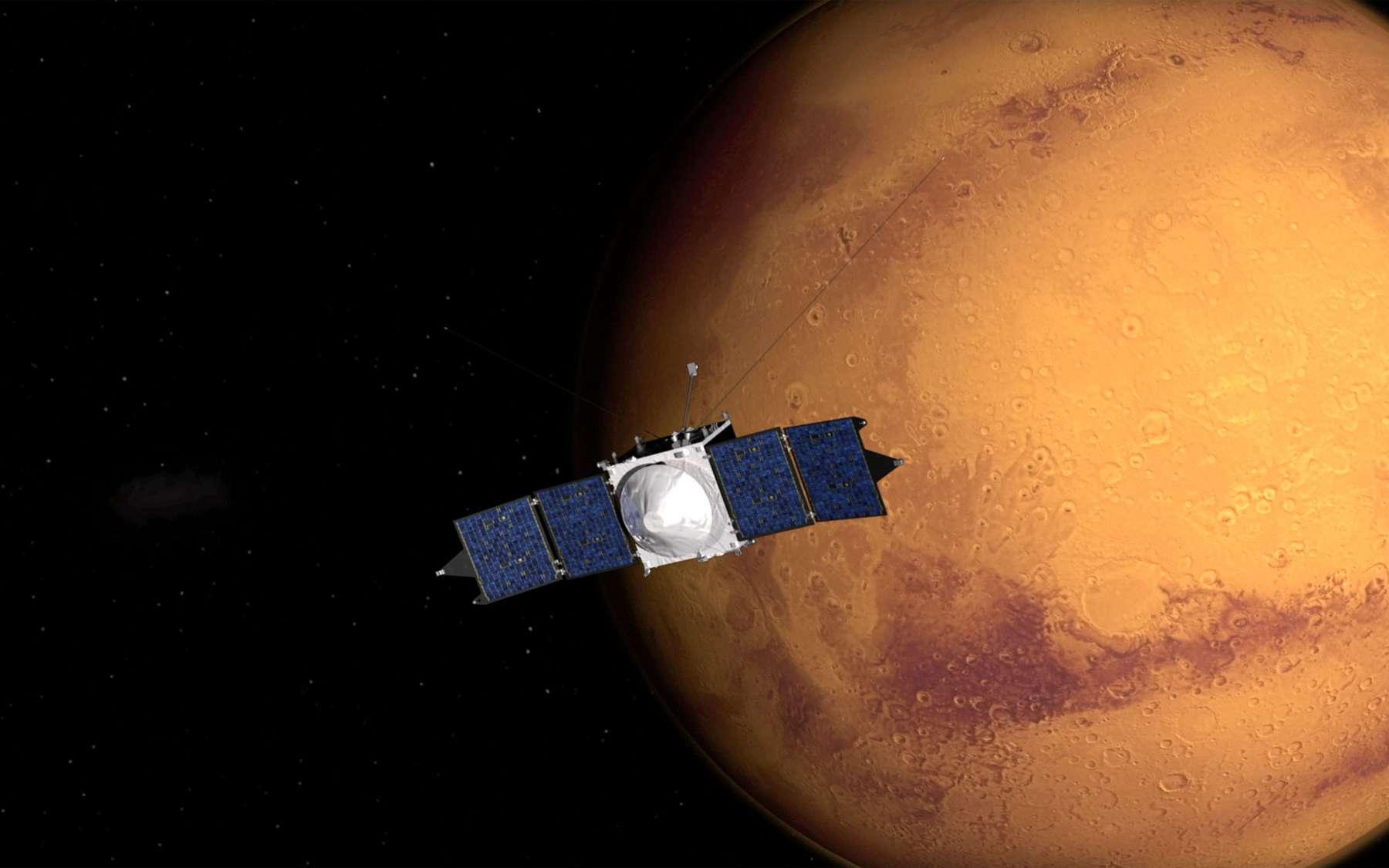 Construite par Lockheed Martin, autour de la même plateforme qui a servi aux sondes Mars Reconnaissance Orbiter (MRO) et Juno, Maven est une sonde de 11 mètres d'envergure qui emporte huit instruments. D'une masse au lancement de 2.550 kg, elle ne fera plus que 717 kg lorsqu'elle sera sur son orbite définitive autour de Mars. © Nasa, Centre Goddard Space Flight