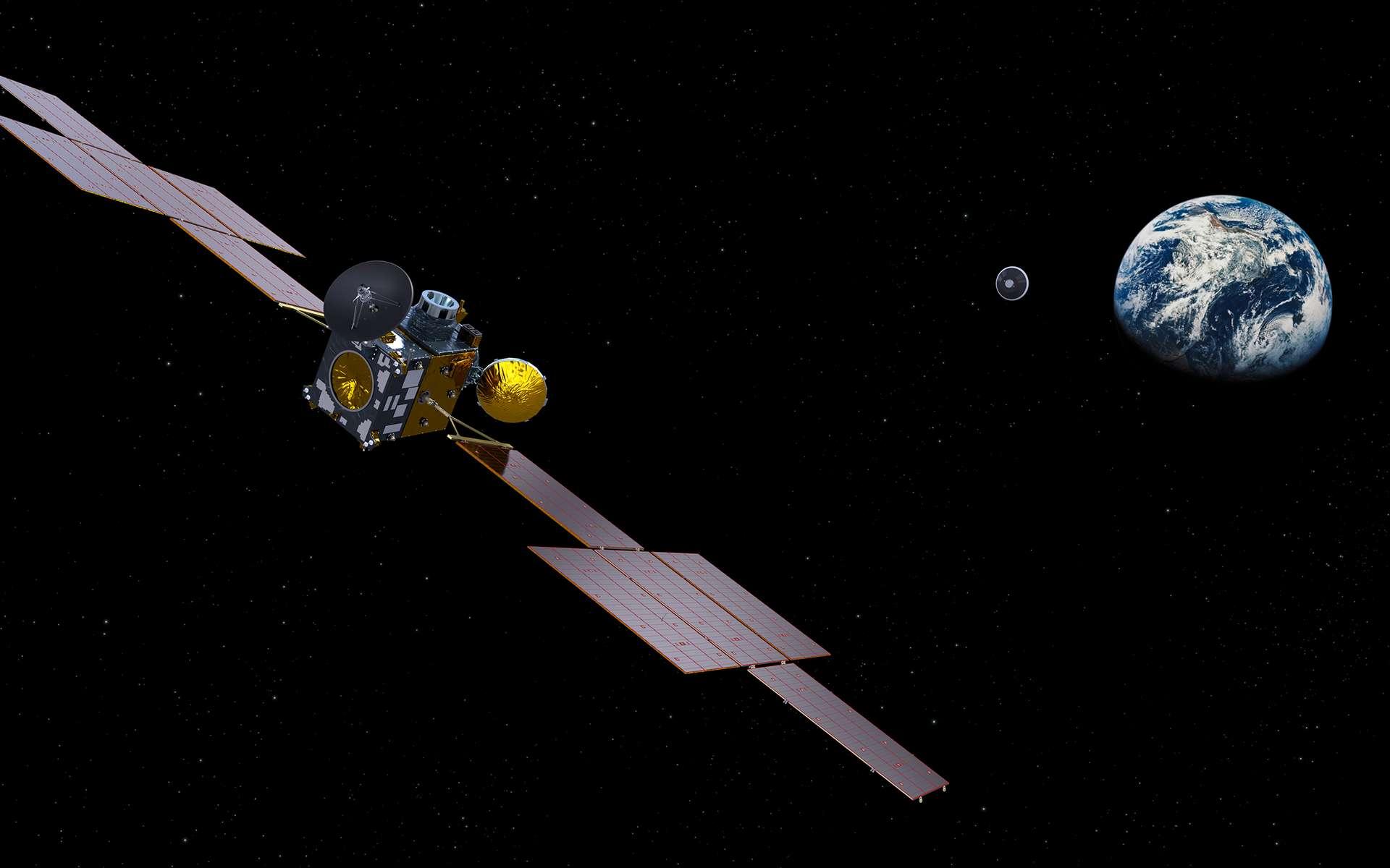 ERO (Earth Return Orbiter), le satellite de capture et de retour, de retour de Mars, larguant la capsule abritant les échantillons martiens. Notez l'absence du module d'insertion en orbite (IOM), laissé en orbite martienne. ERO sera réalisé par Airbus et le module OIM par Thales Alenia Space sous la maîtrise d'œuvre d'Airbus. © ESA, ATG-Medialab