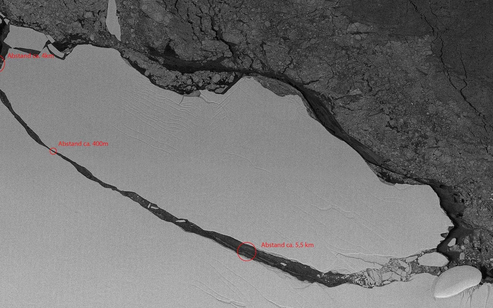 L'iceberg géant A-68, le 22 juillet 2017, quelques jours après sa séparation avec Larsen C. © DLR
