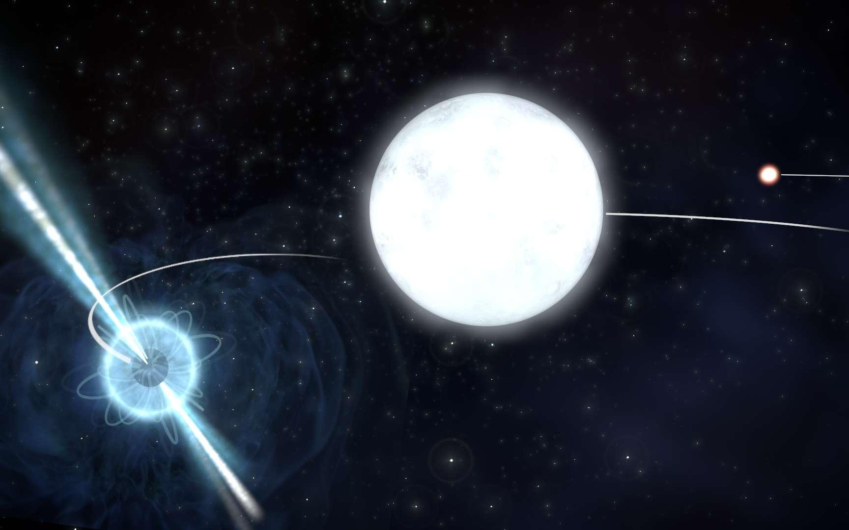 Impression d'artiste du système d'étoile triple PSR J0337+1715, qui est situé à environ 4.200 années-lumière de la Terre. Ce système fournit un laboratoire naturel pour tester les théories fondamentales de la gravité. © SKA organization