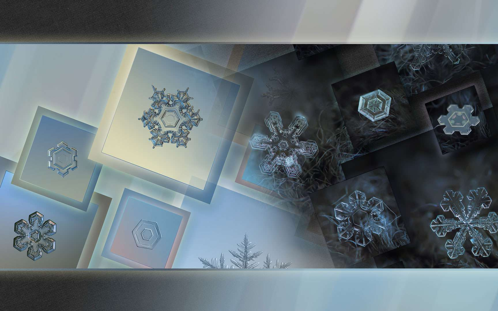 Le photographe russe Alexey Kjatov aime offrir à notre regard les flocons de neige qu'il immortalise de bien belle manière grâce à ses connaissances en macrophotographie. Il apprécie également de regrouper certains de ses clichés au sein de ce que l'on peut alors réellement nommer des œuvres d'art. Comme ce fond d'écran qu'il a poétiquement baptisé : «Aube».On y retrouve des flocons de neige de formes variées et mis en valeur par des éclairages spécialement choisis pour souligner la magie qui en émane.© Olga & Alexey, Flickr, CC by-nc 2.0