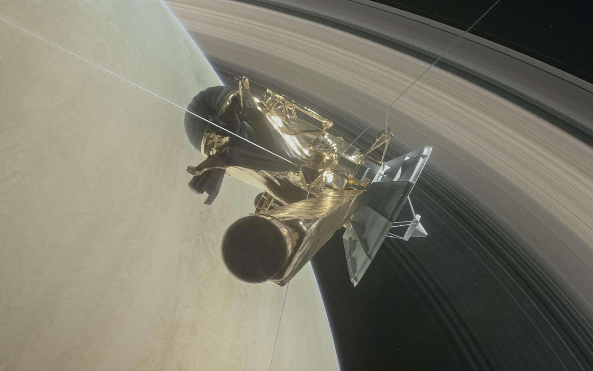 Illustration de Cassini se faufilant entre Saturne et ses anneaux. Les 22 passages programmés promettent des vues sidérantes de la planète gazeuse. © Nasa, JPL-Caltech