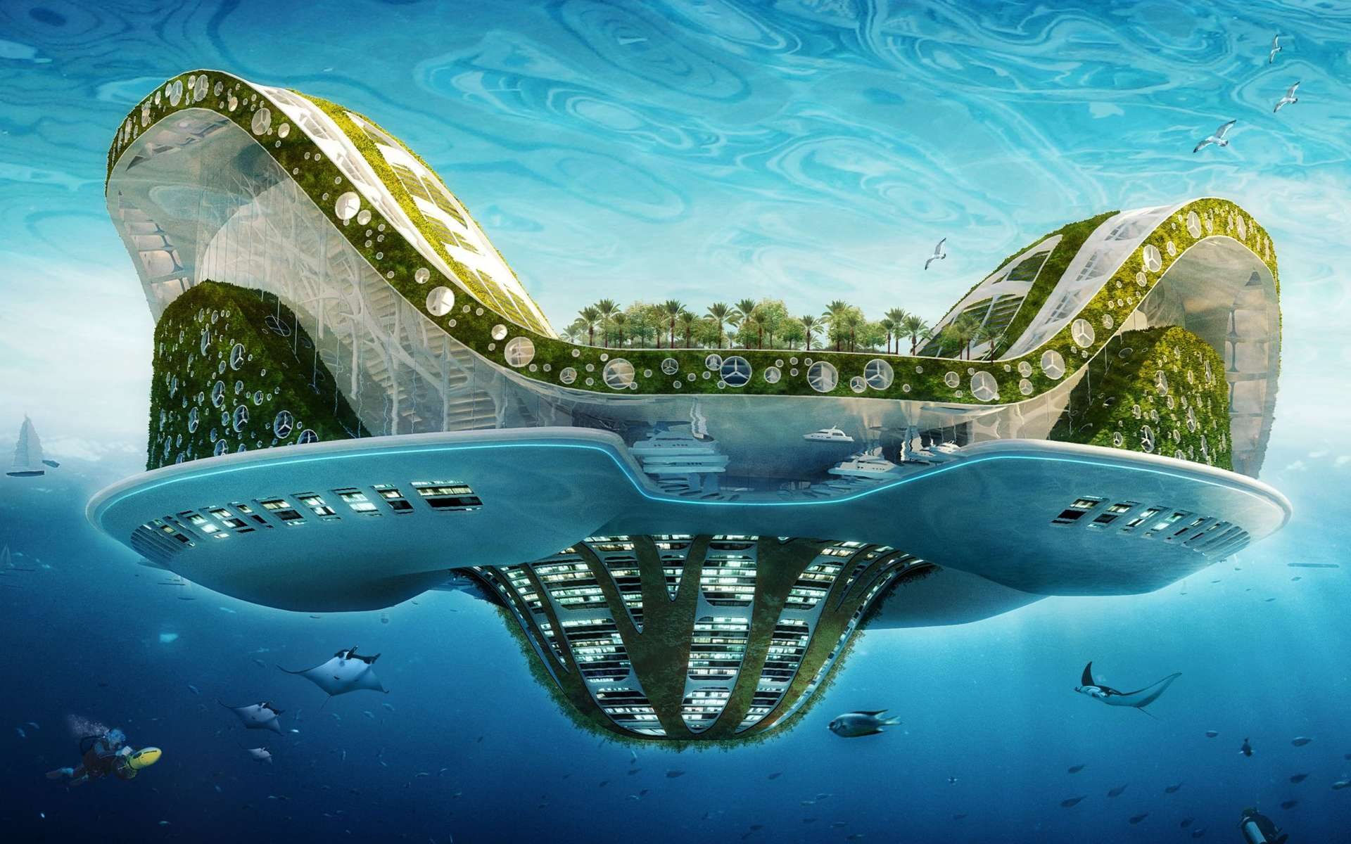 Lilypad, un projet pour accueillir les réfugiés climatiques. Cette ville flottante, autosuffisante, pourrait accueillir 50.000 personnes, produirait son oxygène et recyclerait ses déchets. © Vincent Callebaut Architectures, www.vincent.callebaut.org