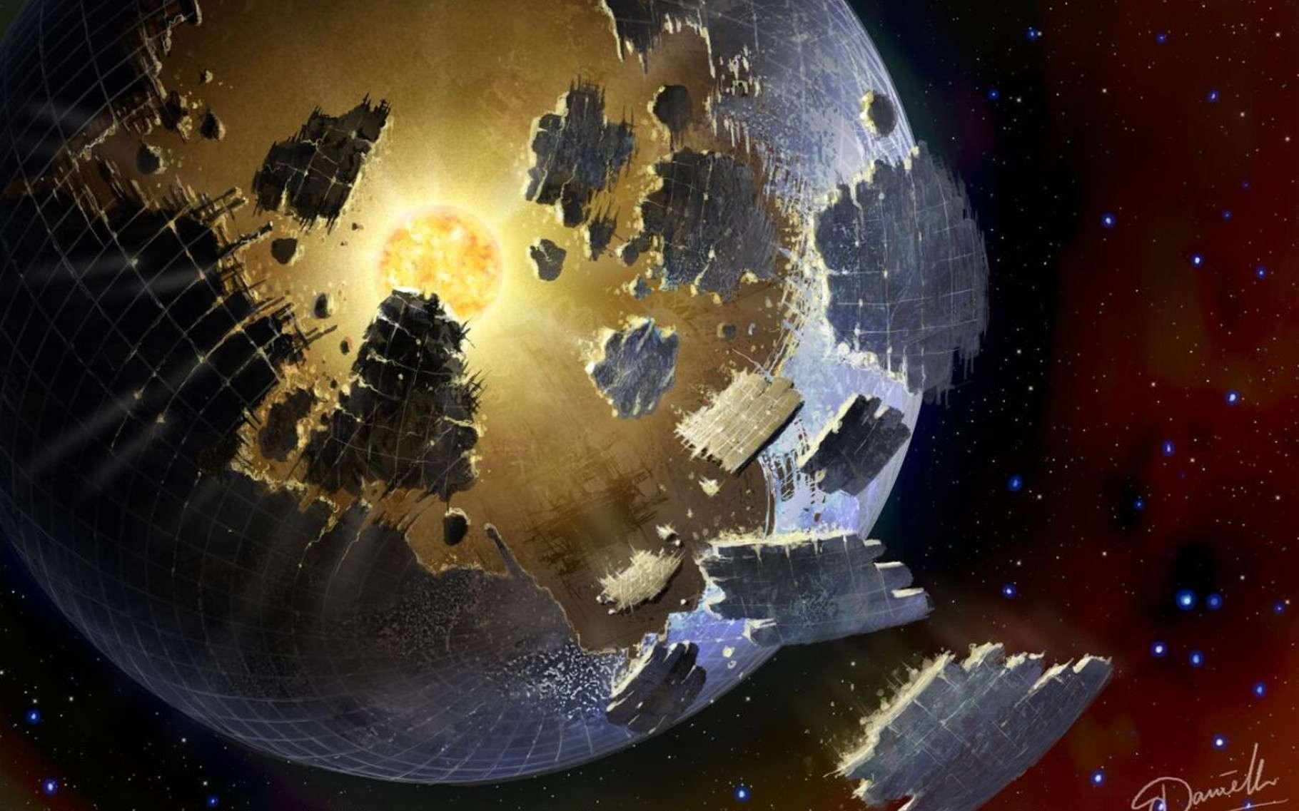 Une vision d'artiste d'une sphère de Dyson en cours de construction (ou en train de se détruire) autour d'une étoile ayant donné naissance à une civilisation technologique gourmande en énergie. © Paul Duffield