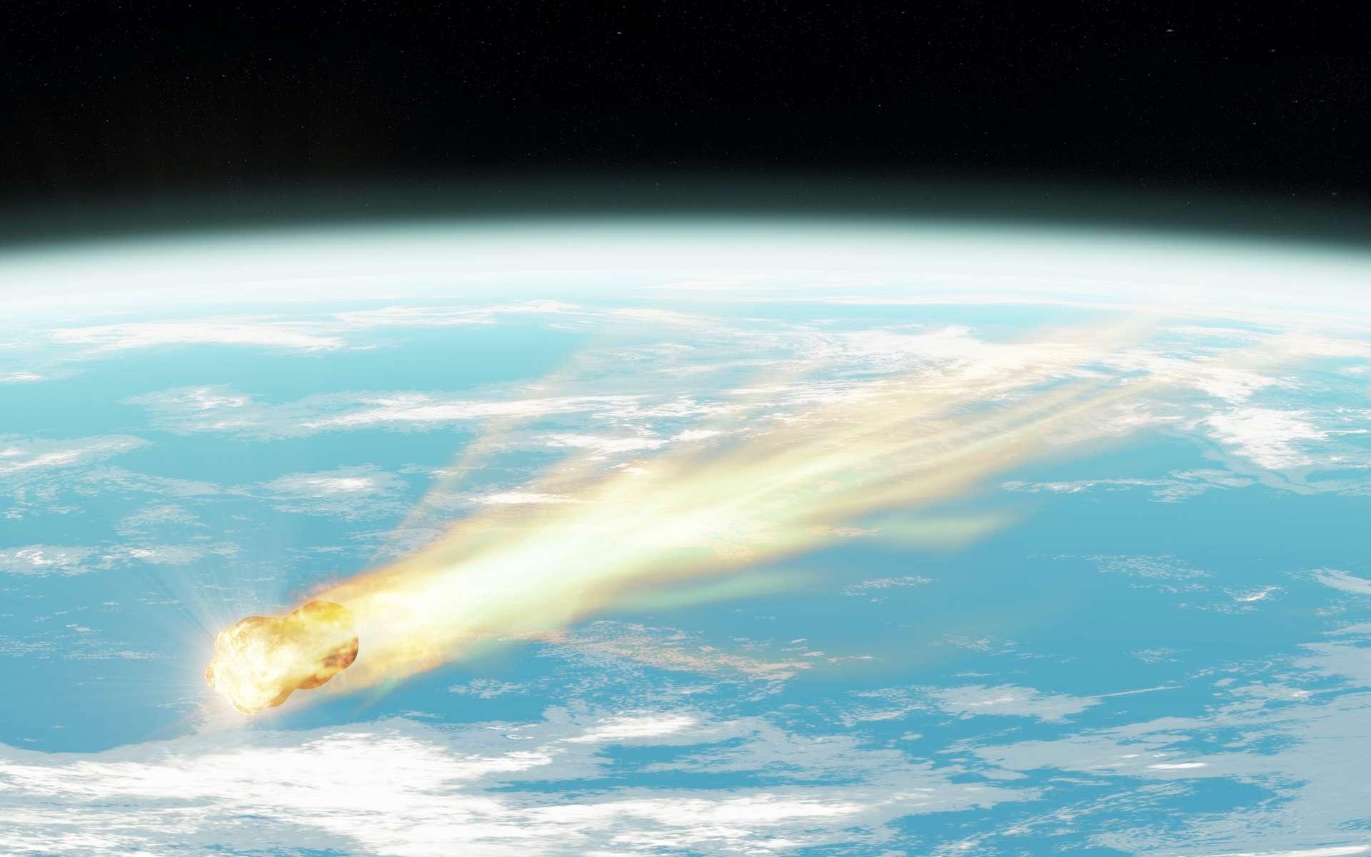 Illustration d'un astéroïde se consumant dans la haute atmosphère terrestre. © Stéphane Masclaux, Adobe Stock