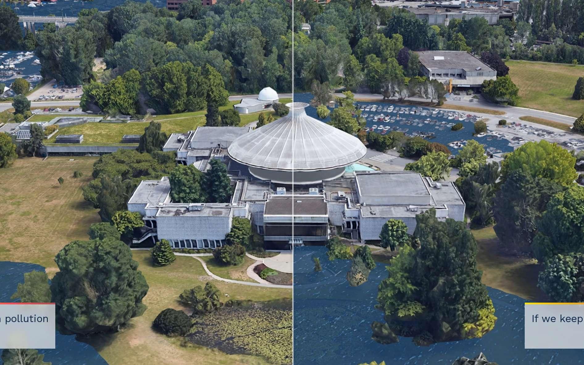 Les scientifiques ont modélisé la montée des eaux dans plusieurs grandes villes comme ici à Vancouver. © Climate Central