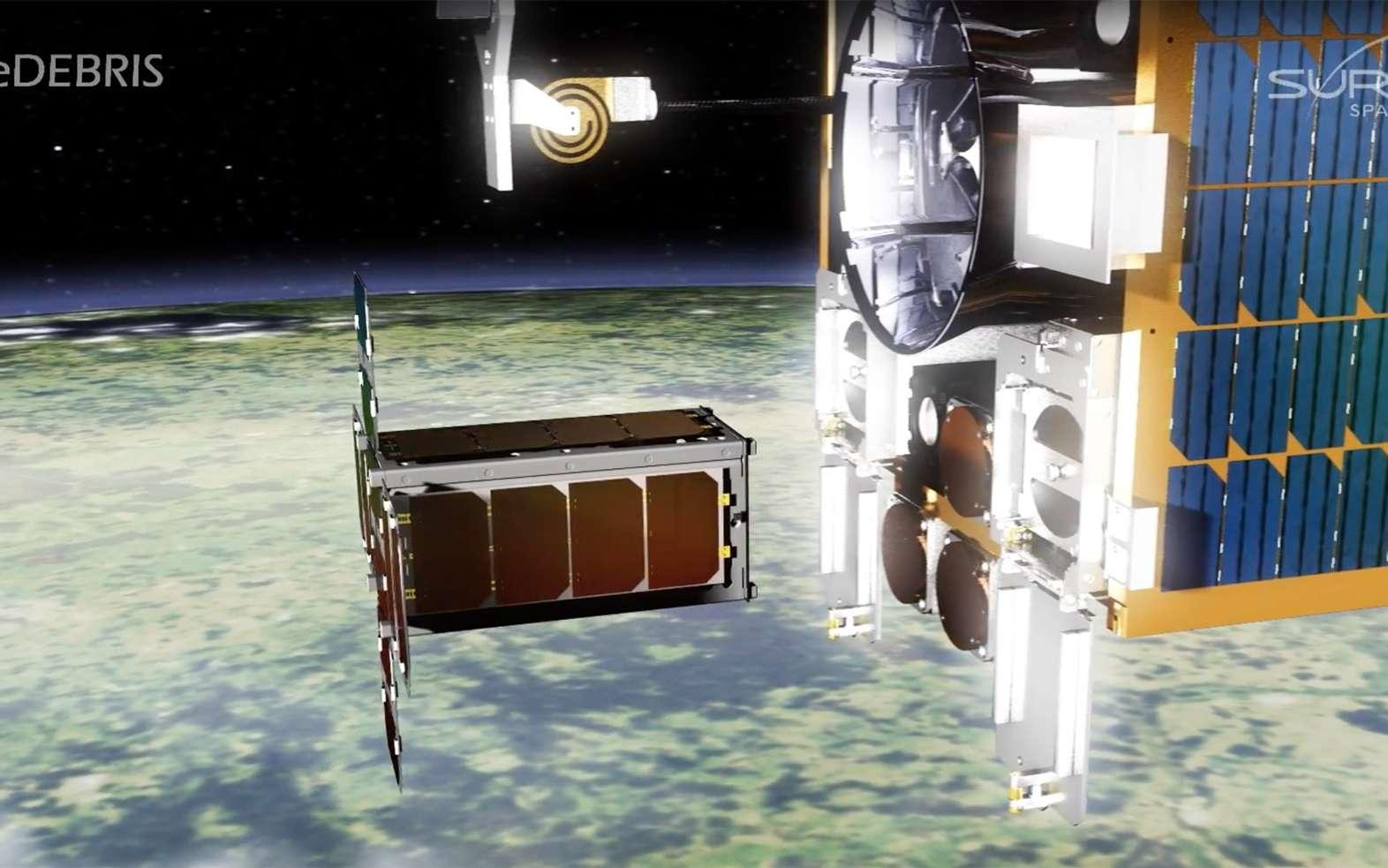 Avec le démonstrateur RemoveDebris, l'Europe veut se doter d'outils capables d'aller désorbiter les débris spatiaux les plus menaçants pour ses satellites. © Surrey Satellite Technology