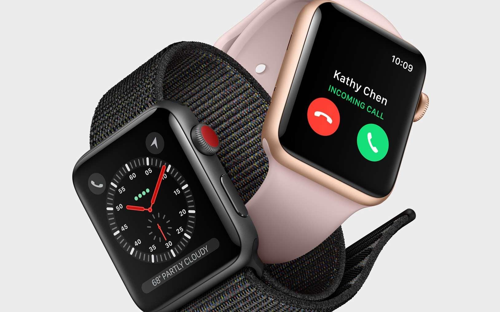 La montre connectée Apple Watch enregistre notamment le rythme cardiaque via un capteur optique. © Apple