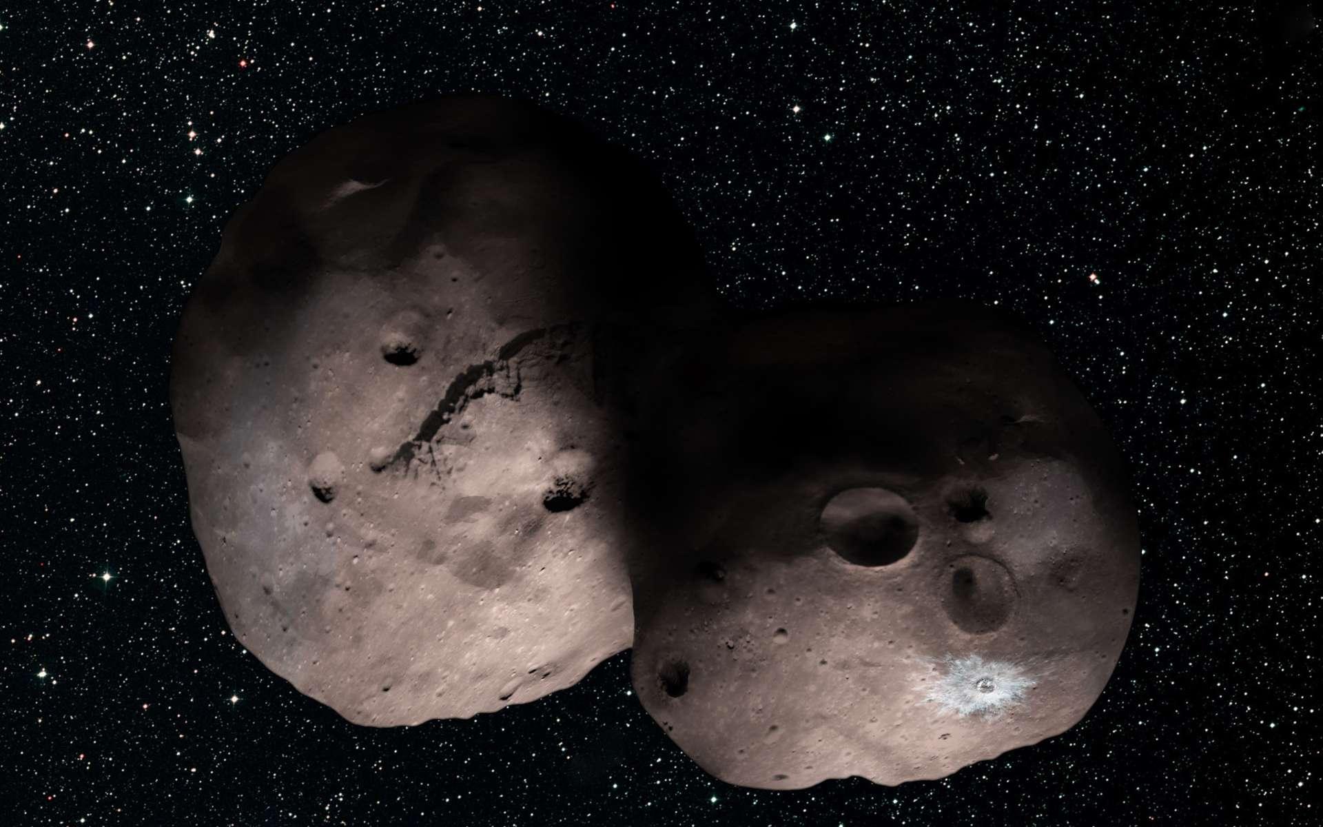 Illustration de 2014 MU69 basée sur les observations de juillet 2017 lors de l'occultation de trois étoiles. Cet objet de la ceinture de Kuiper pourrait une binaire rapprochée ou en contact. © Nasa, JHUAPL, SwRI, Alex Parker