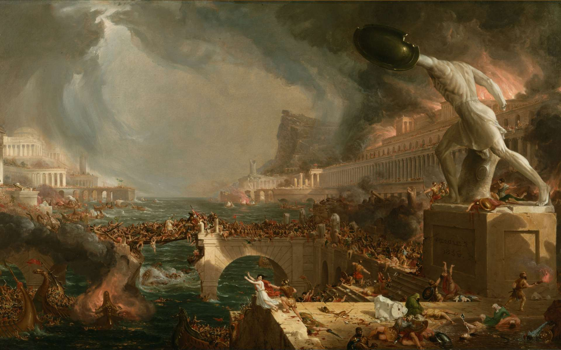 Quelles sont les causes de la chute de l'Empire romain d'Occident. Ici, peinture La Destruction (1836), de Thomas Cole. © Thomas Cole, Wikimedia Commons, DP