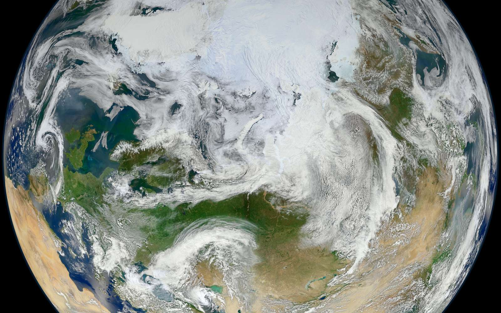 La Terre vue côté pôle Nord par le satellite météorologique Suomi NPP. © Nasa/GSFC/Suomi NPP