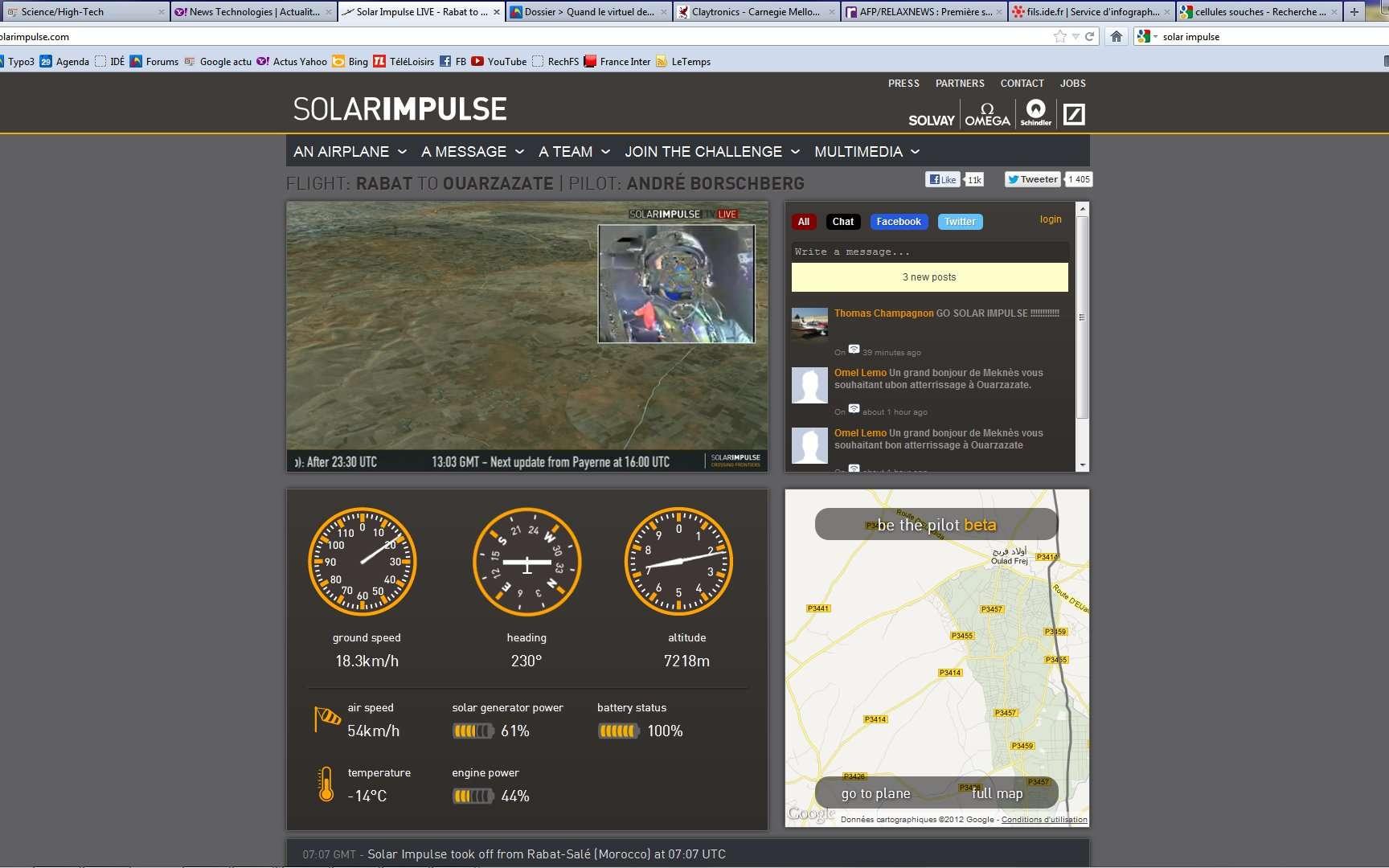 Une vue du cockpit virtuel proposée en direct sur le site de Solar Impulse. Il est 13 h 30 TU (15 h 30 en France). L'avion vient de passer Casablanca et se dirige vers Marrakech. Devant lui, l'Atlas. Les vents sont bien plus forts que prévu : la vitesse/sol (ground speed) en témoigne... L'équipe discute ferme. Et décision est prise de faire demi-tour, le seul aéroport de dégagement étant Rabat. © Solar Impulse