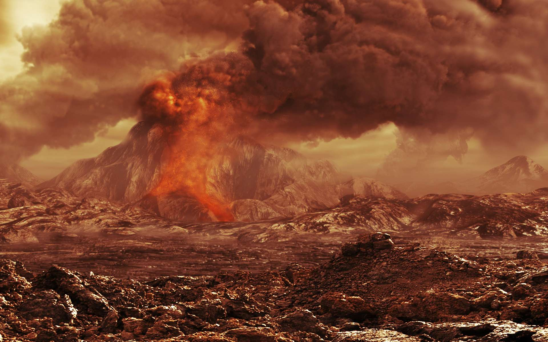 Une vue d'artiste montrant une éruption volcanique sur Vénus. La totalité de sa surface est constituée de volcans, de coulées, de caldeiras et de dômes. © Esa, AOES