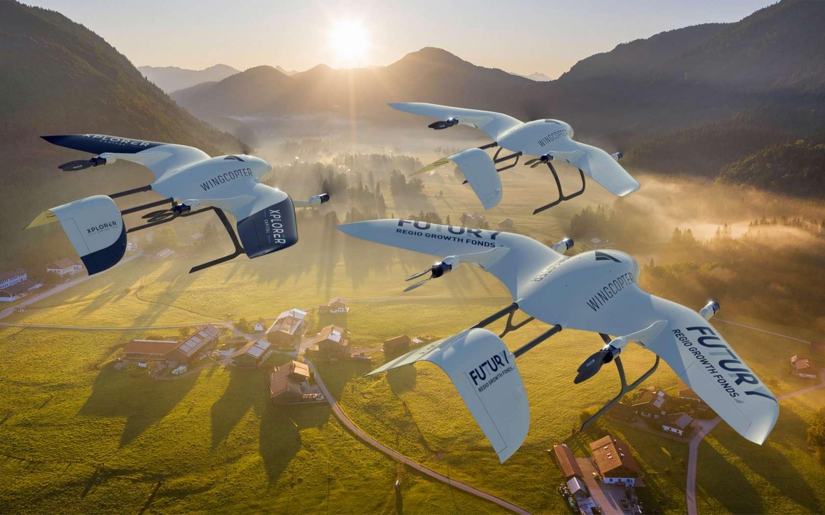 Le drone de livraison Wingcopter détient le record de vitesse de sa catégorie avec 240 km/h. © Wingcopter