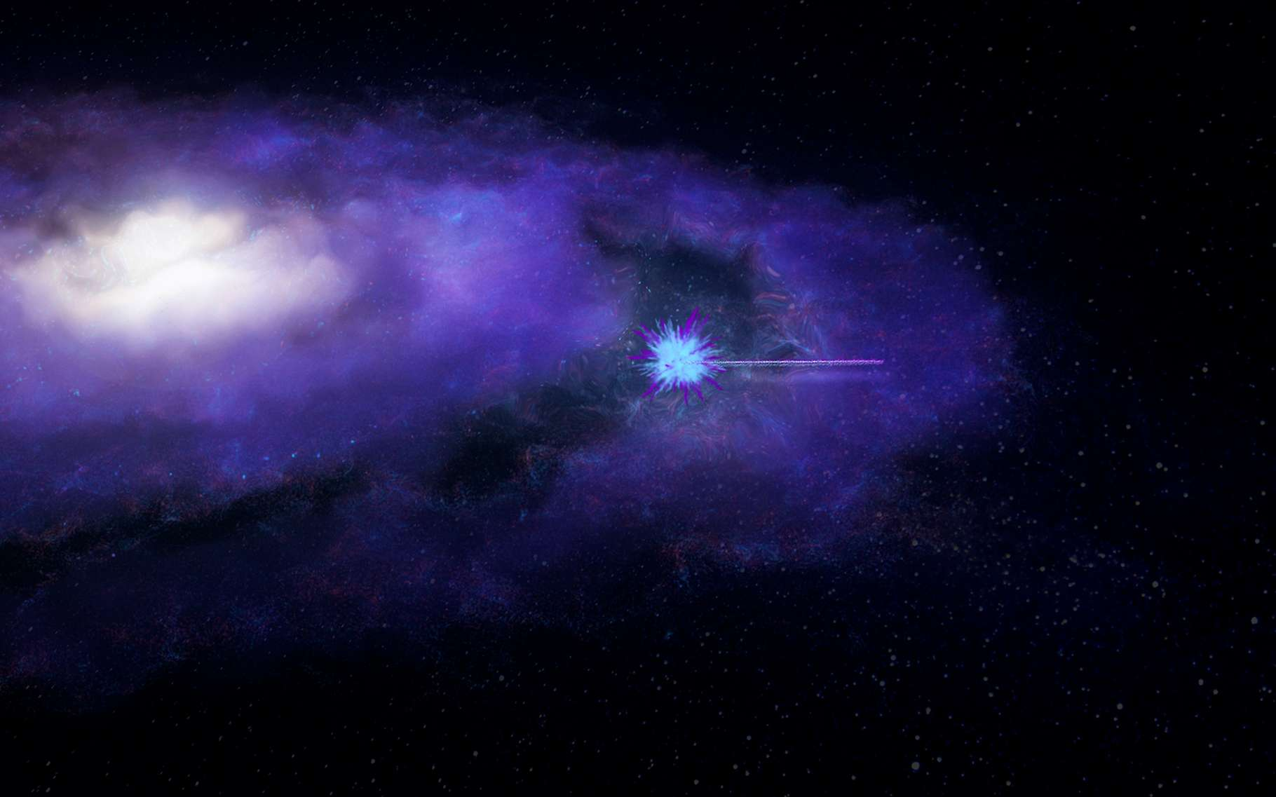 Un sursaut radio rapide est émis depuis une galaxie lointaine. Ses ondes vont voyager jusqu'à notre Terre et être impactées par la matière qu'elles rencontreront en chemin. © International Centre for Radio Astronomy Research