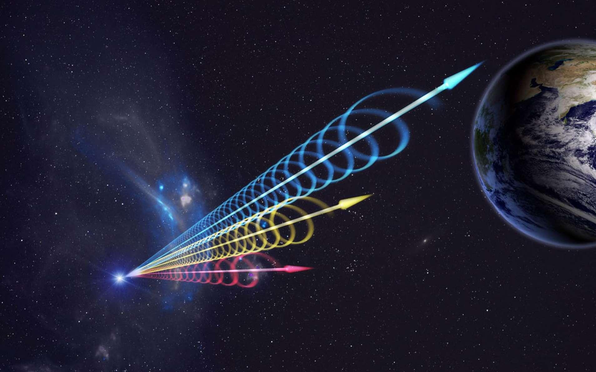 Une vue d'artiste des FRB, les sursauts radio rapides. © Jingchuan Yu Beijing Planetarium, NRAO