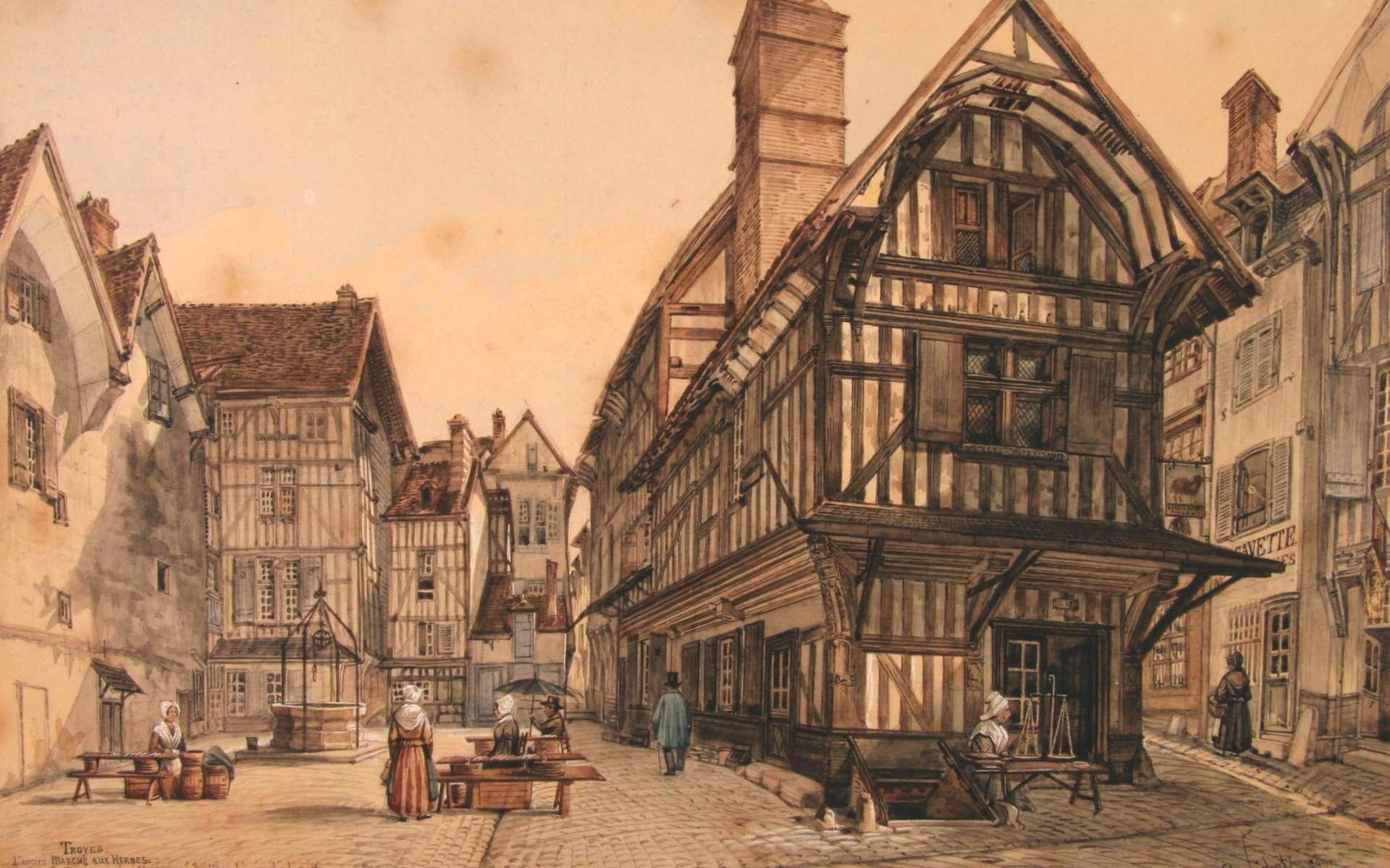 Tableau de Charles Fichot de l'ancien marché aux herbes à Troyes, en Champagne. © DP