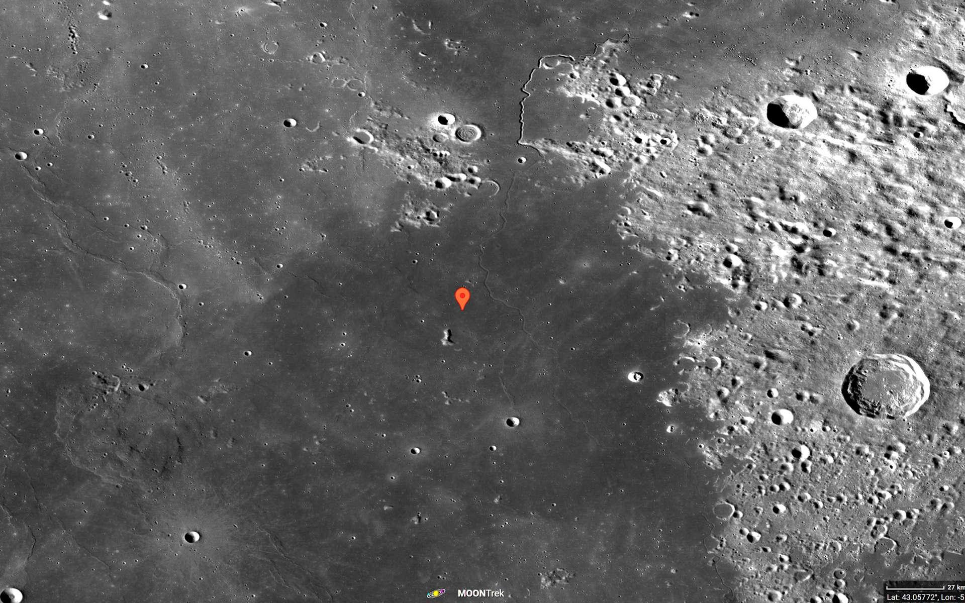La région de Mons Rümker, dans l'océan des Tempêtes, site d'atterrissage de la mission Chang'e 5. Image acquise par la sonde LRO de la Nasa. © Nasa, Moon Trek