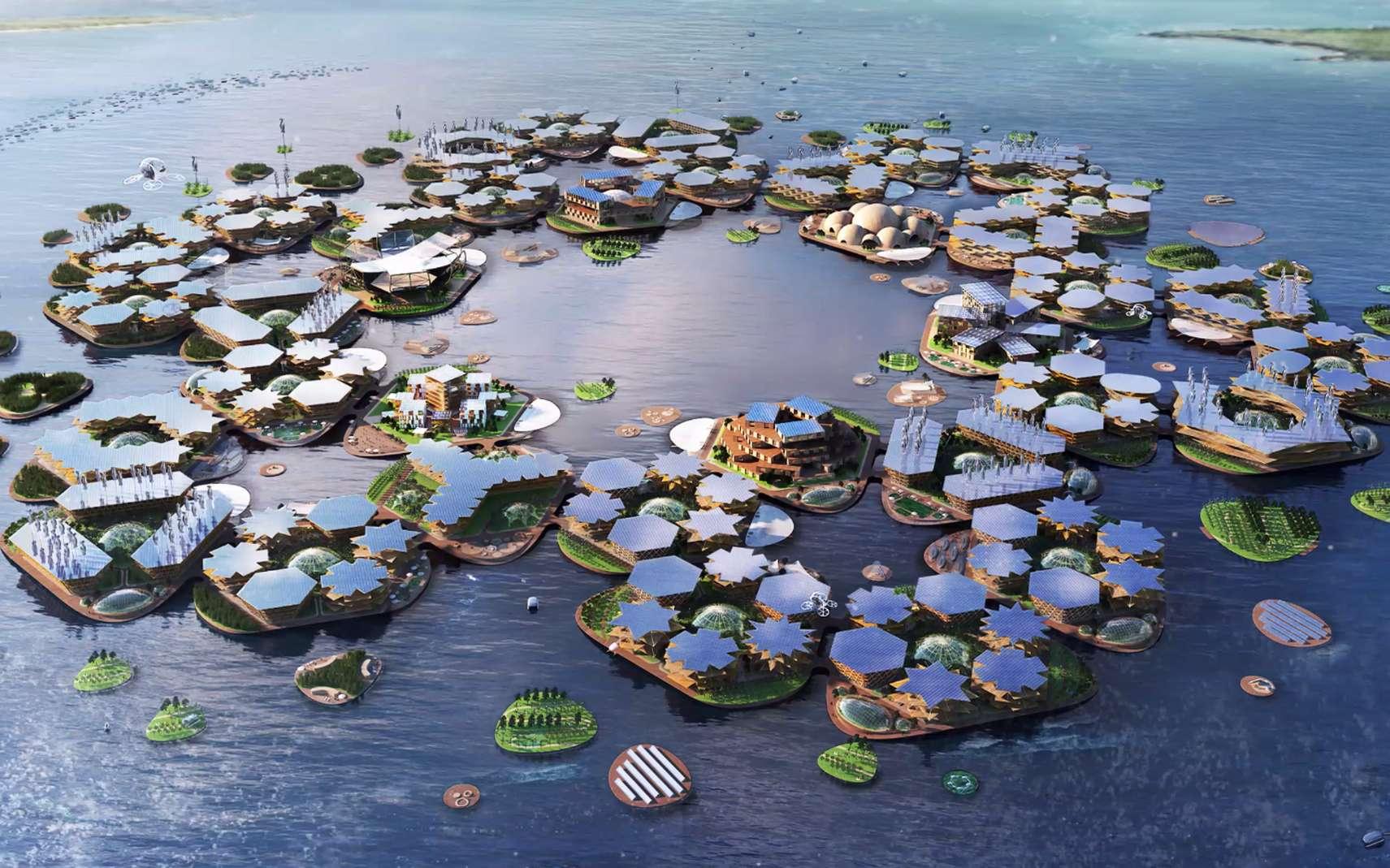 Oceanix city, une ville flottante conçue pour résister aux catastrophes climatiques. © BIG-Bjarke Ingels Group