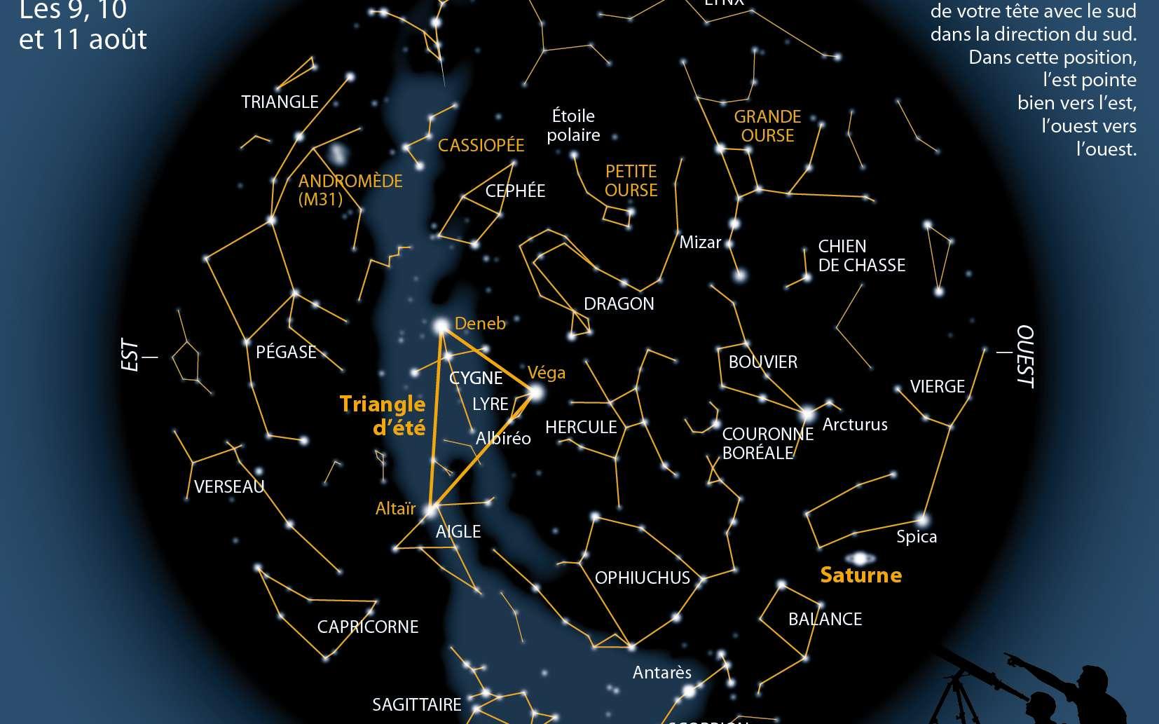 Une carte du ciel à observer pendant les 23e Nuits des étoiles. On peut par exemple voir indiqué le Triangle d'été (Véga, Altaïr, Deneb). © Idé