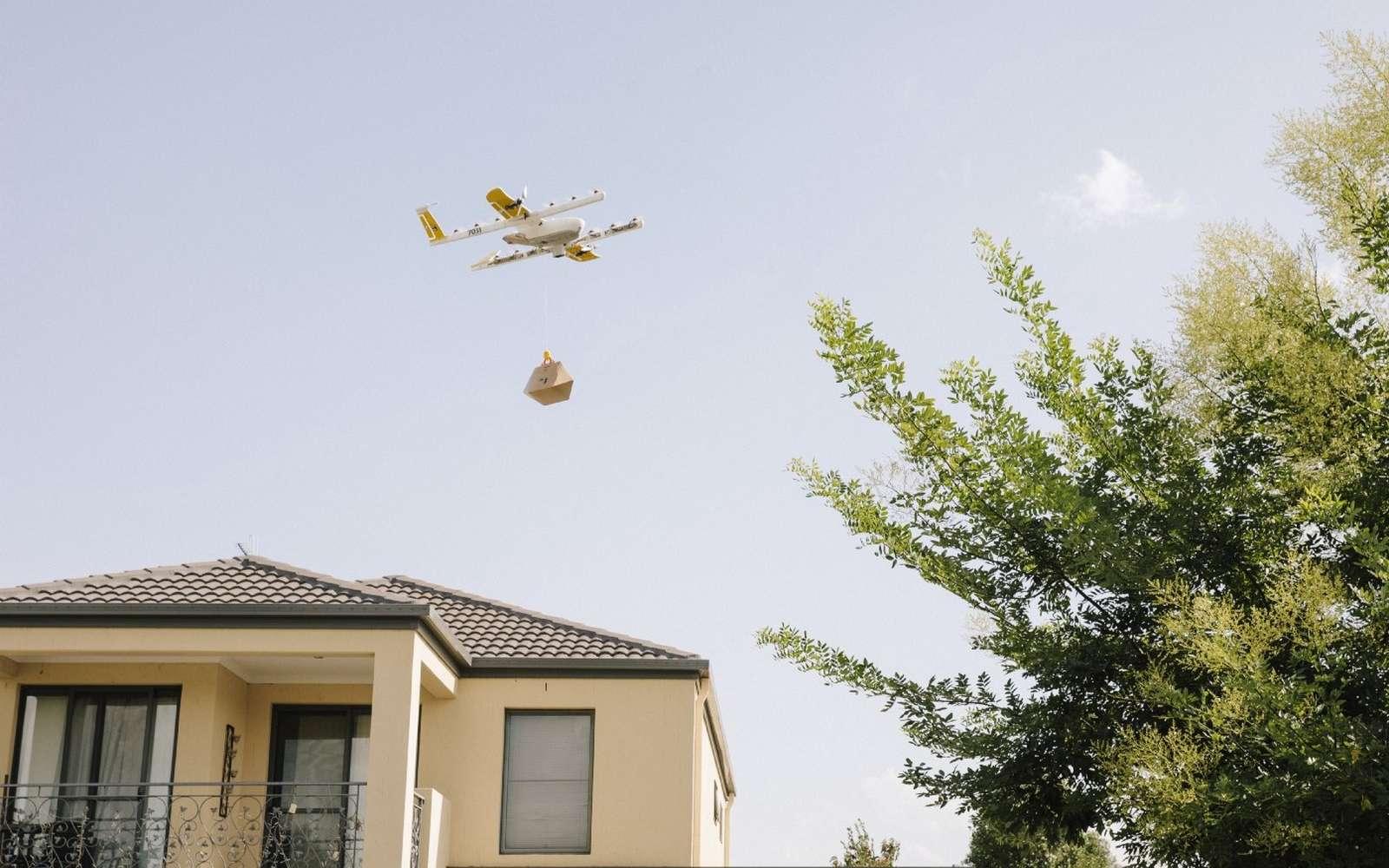 Drone de livraison du project Wing à l'essai ici en Australie. © Google