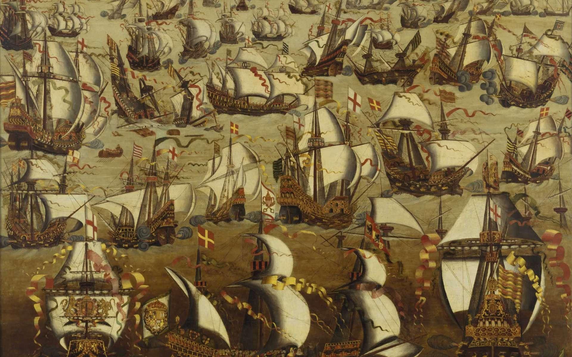 L'Invincible Armada combattant des vaisseaux anglais, en août 1588. Par la suite, les Espagnols annulèrent leur projet d'invasion de l'Angleterre. © Wikimedia Commons, DP