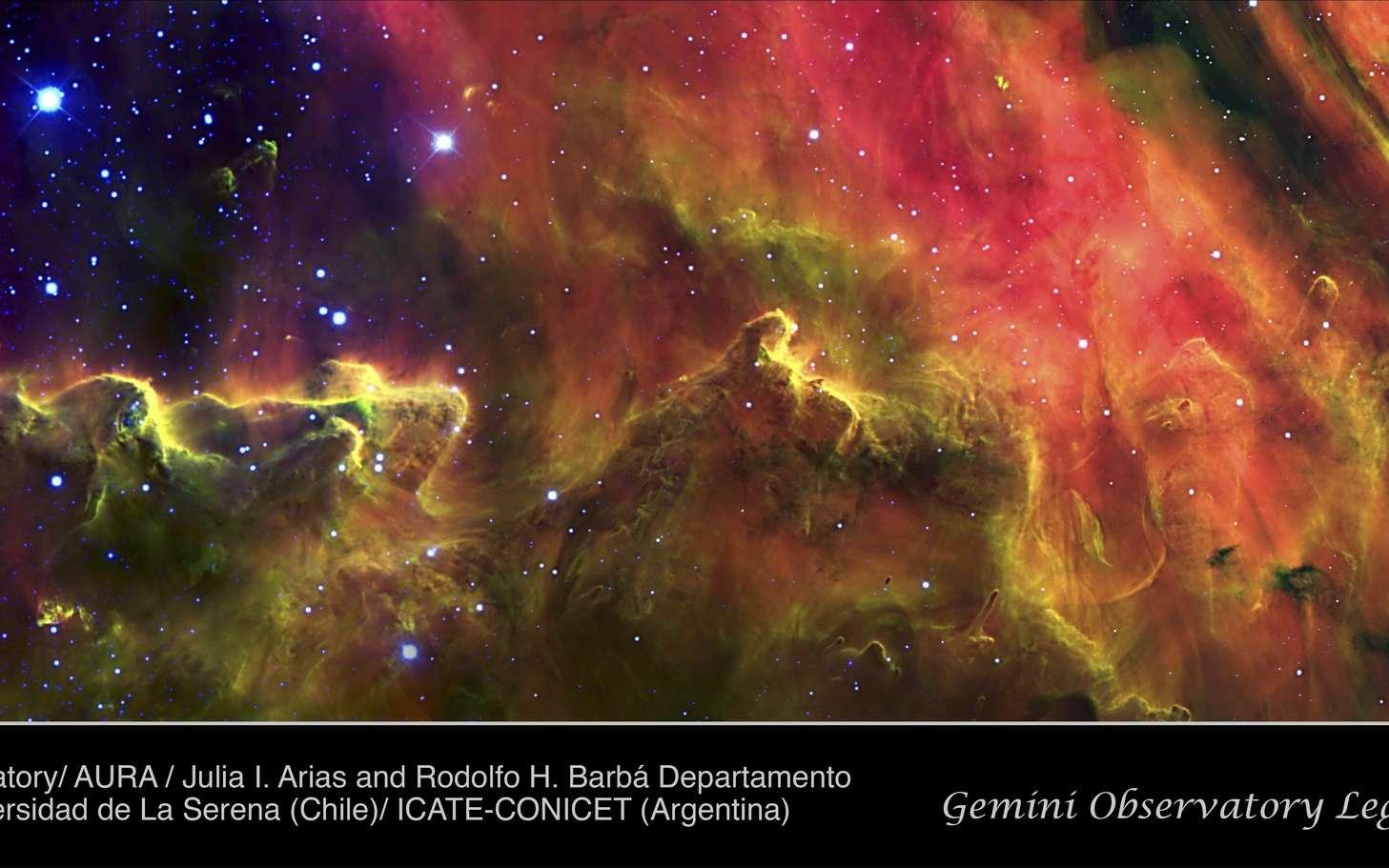 Les couleurs psychédéliques de la nébuleuse de la Lagune. © I. Arias/Rodolfo H. Barbá/Departamento de Física, Universidad de La Serena (Chile), and ICATE-CONICET