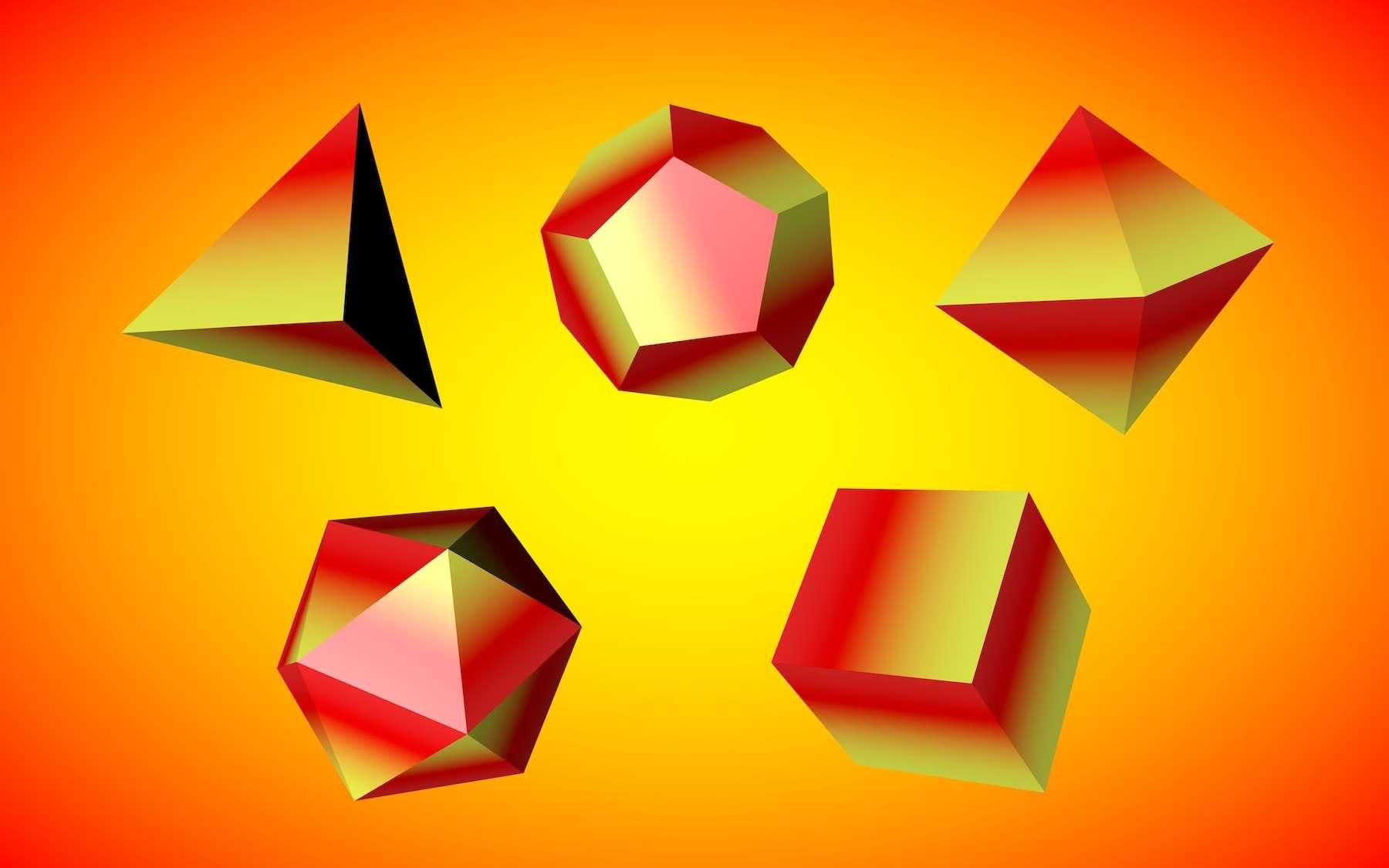 Quelques polyèdres courants. © Maryna Olyak, Adobe Stock