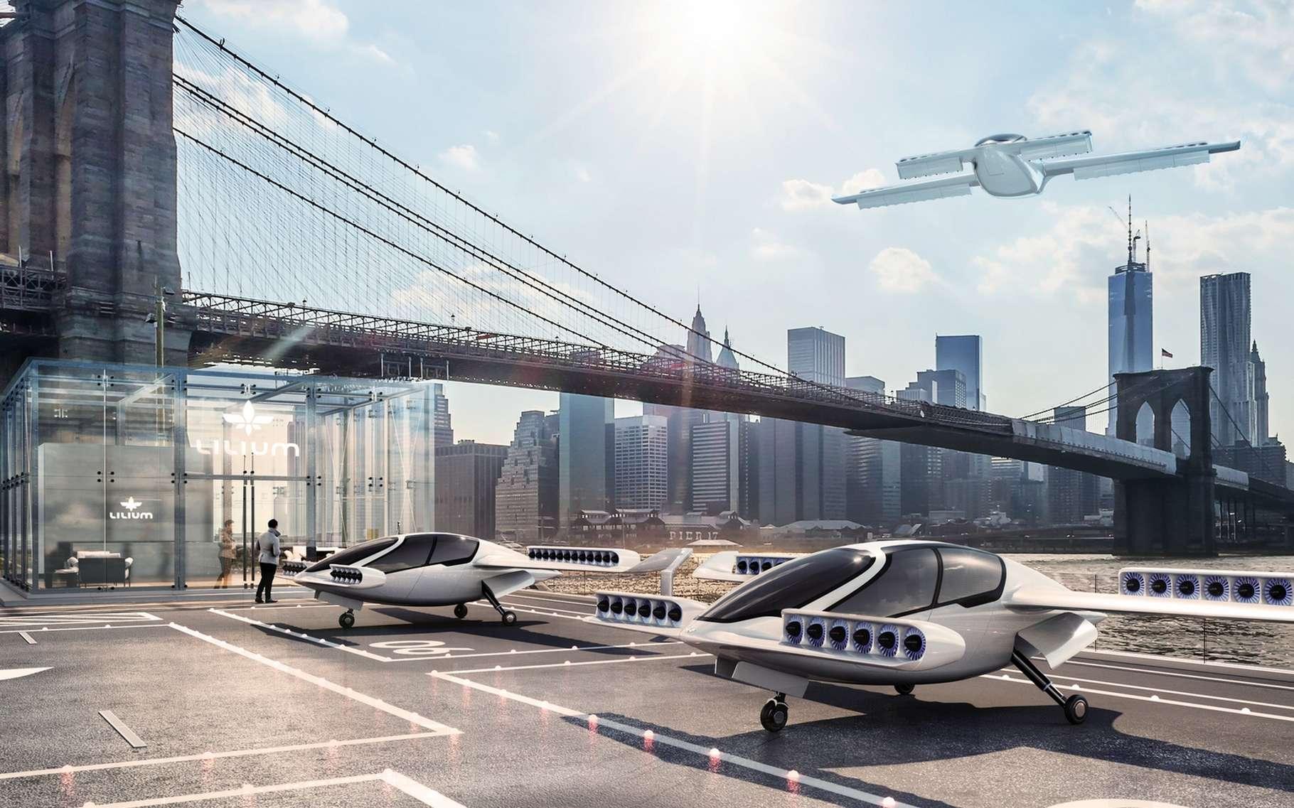 Le concept de l'avion électrique Lilium Jet est de proposer des vols interurbains sur des courtes distances à des tarifs inférieurs à ceux pratiqués actuellement avec des taxis automobiles. © Lilium