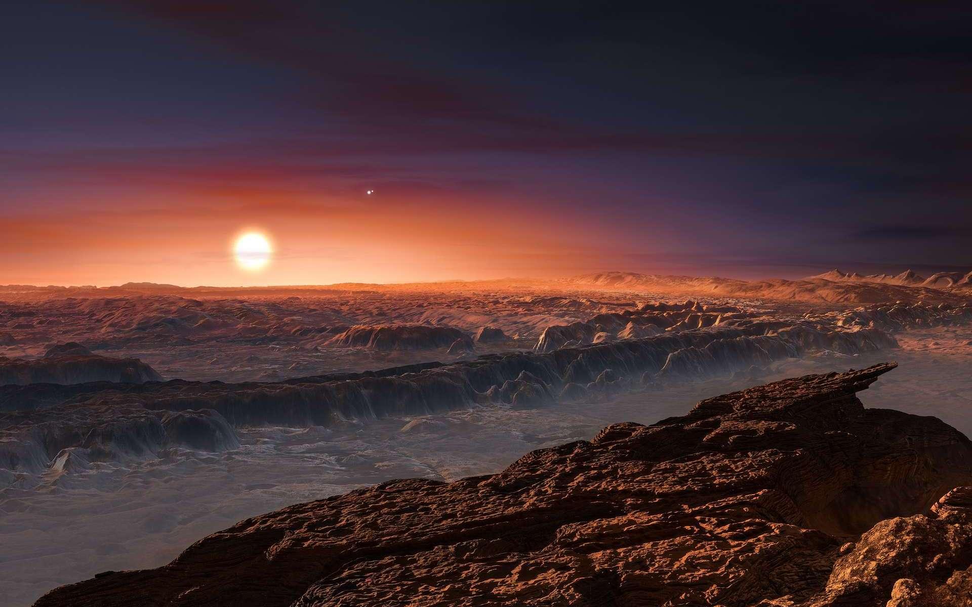 Une vue d'artiste à la surface de l'exoplanète Proxima b. En haut, à droite de l'étoile Proxima du Centaure, on peut voir Alpha Centauri A et B. © ESO