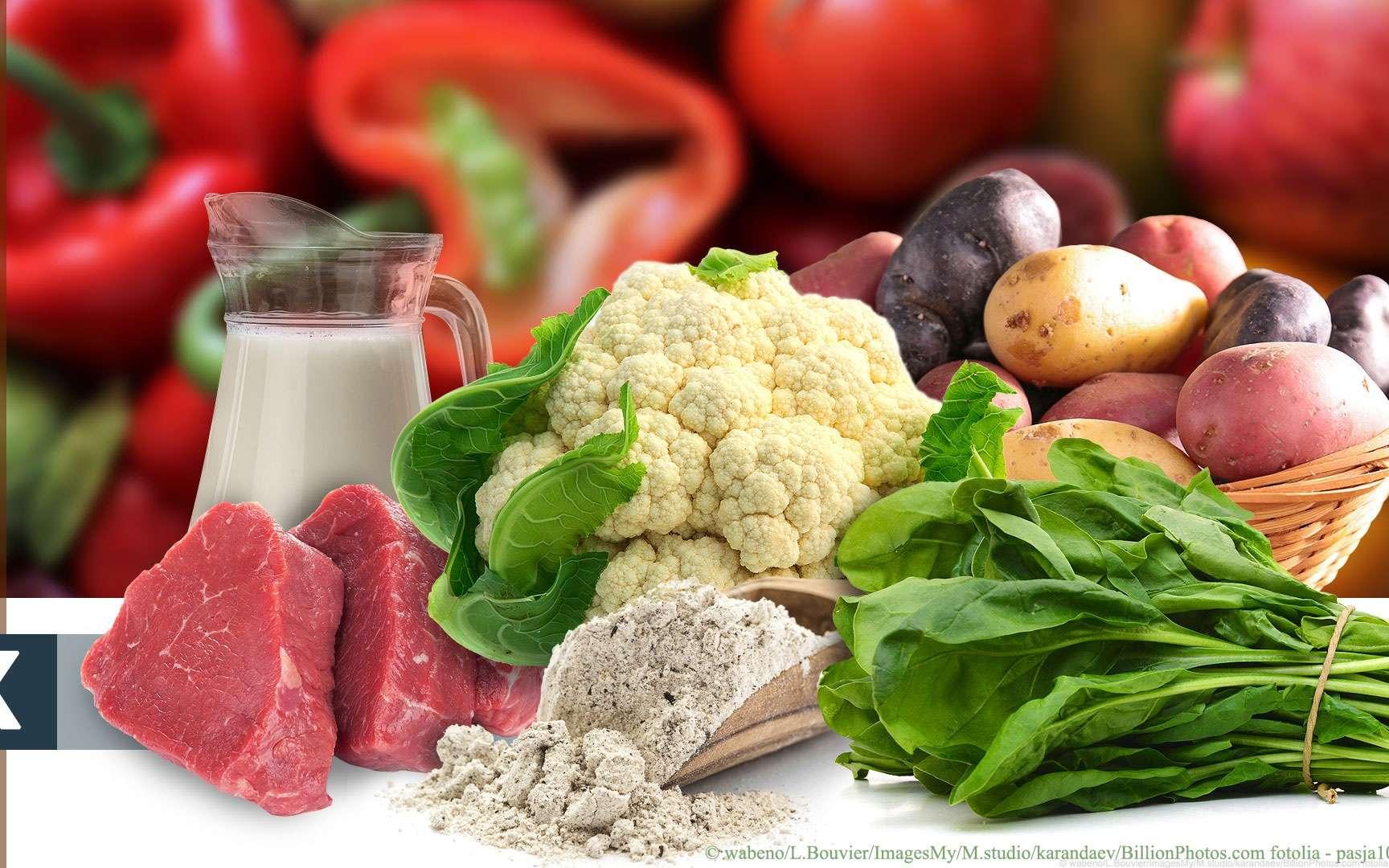 La vitamine K se trouve dans les légumes verts à feuille, choux, les produits laitiers, la viande. © wabeno, L.Bouvier, ImagesMy, M.studio, karandaev, BillionPhotos.com fotolia, pasja1000