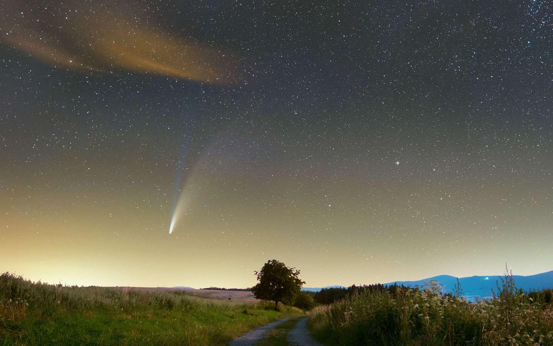 La comète à longue période C/2020 F3 (Neowise), photographiée en Pologne. © Jarek Oszywa, Apod, Nasa