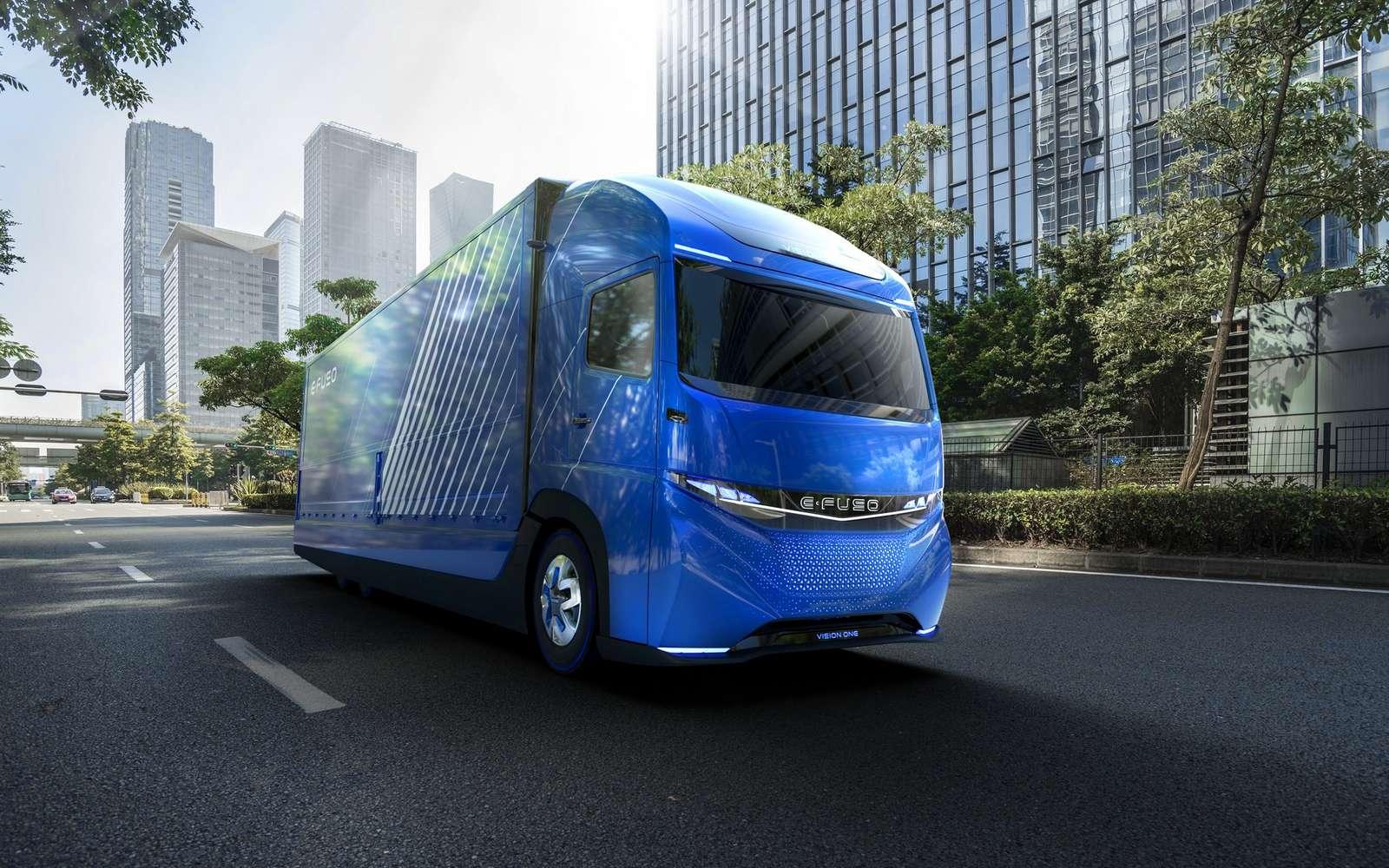 L'E-Fuso Vision One de Daimler Trucks est à ce jour le premier camion poids lourd électrique annoncé pour un usage commercial. © Daimler