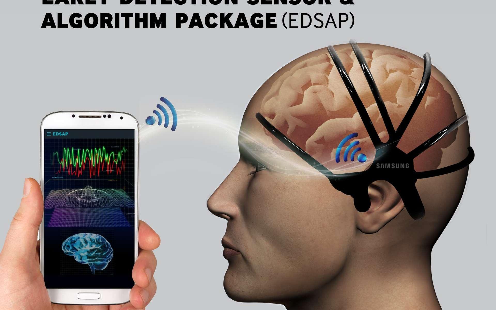 Le suivi d'un électroencéphalogramme à l'aide de ce casque discret et d'une analyse effectuée sur un smartphone pourrait suffire d'après des ingénieurs coréens, à détecter des signes annonciateurs d'un AVC. © Samsung