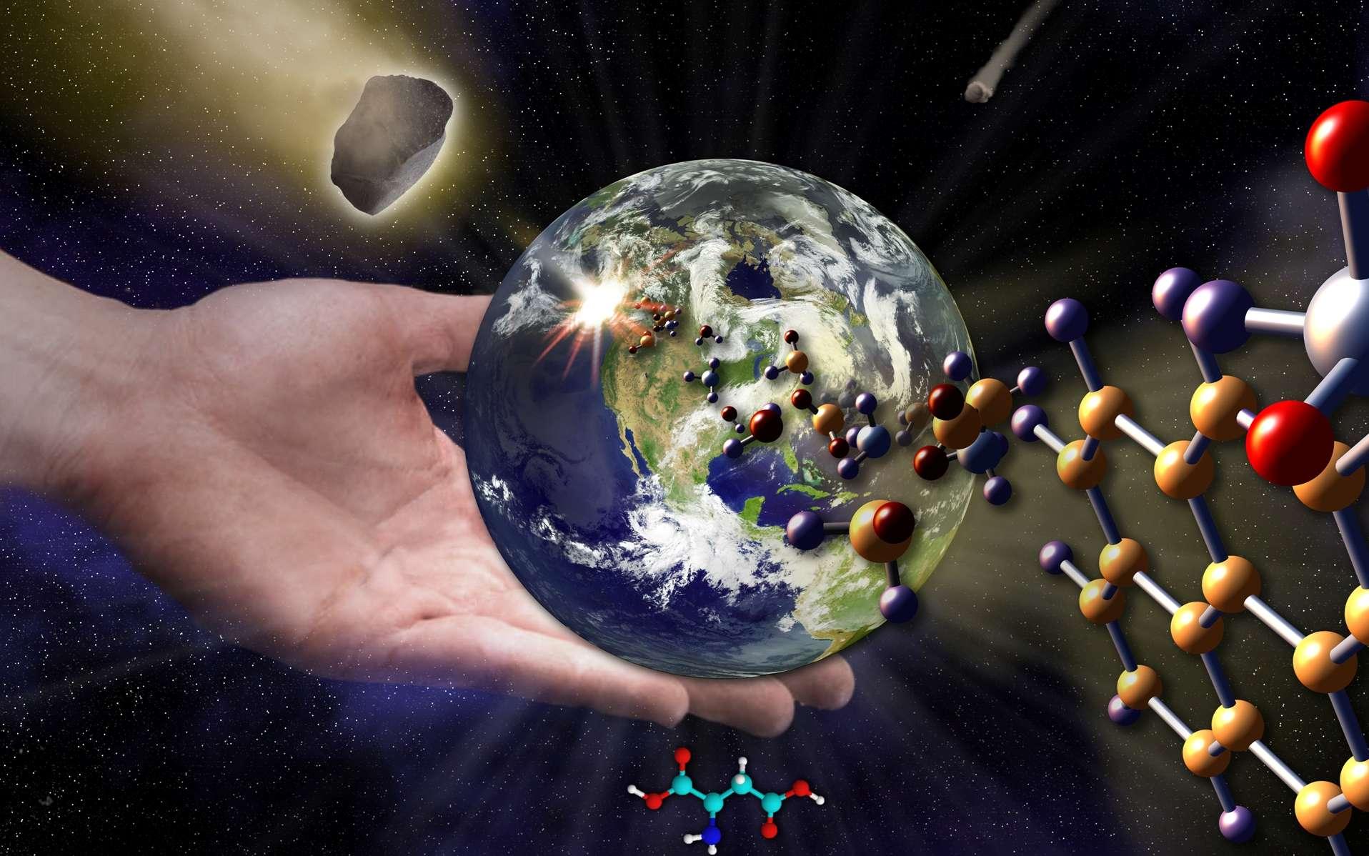 Stanley Miller faisant une démonstration de sa célèbre expérience. Elle a depuis été répétée de nombreuses fois avec des variantes. Elle fait toujours l'objet de recherches, d'autant plus que l'on se prépare à analyser l'atmosphère d'un grand nombre d'exoplanètes. © universe-review