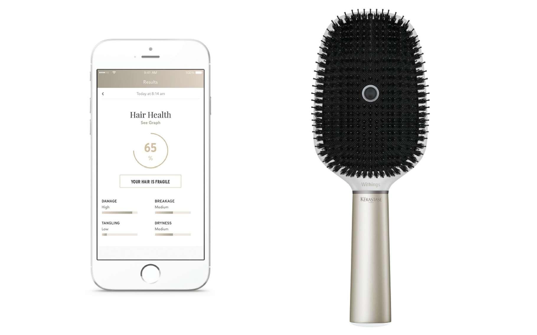 La brosse à cheveux Hair Coach est censée aider leur utilisateur à mieux prendre soin de leurs cheveux en surveillant la technique et les conditions extérieures. © Withings, Kérastase