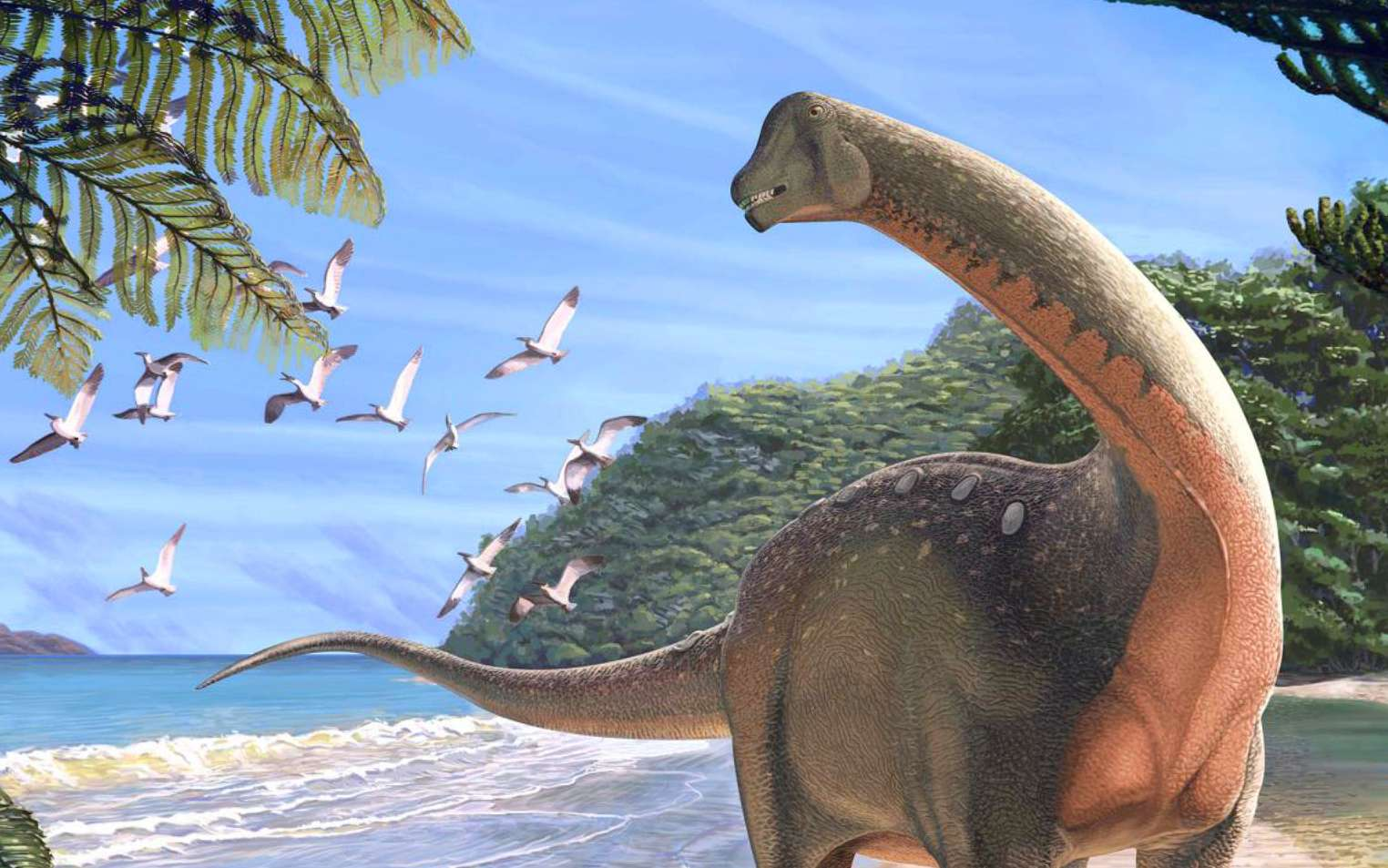 Illustration de Mansourasaurus shahinae dans son environnement, il y a environ 80 millions d'années. © Andrew McAfee, Carnegie Museum of Natural History