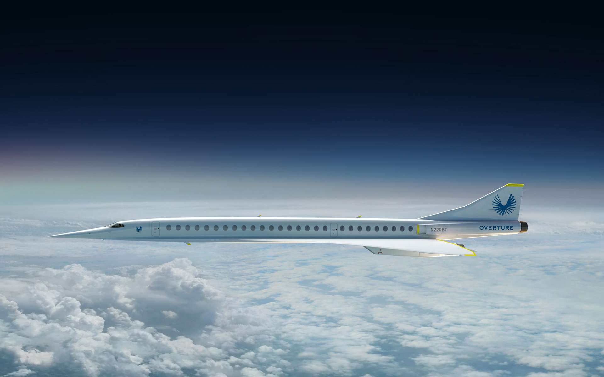 L'avion supersonique Overture de la société Boom Supersonic qui ambitionne de faire voler un avion de transport civil de 55 passagers à la vitesse de Mach 2,2. © Boom Technologies