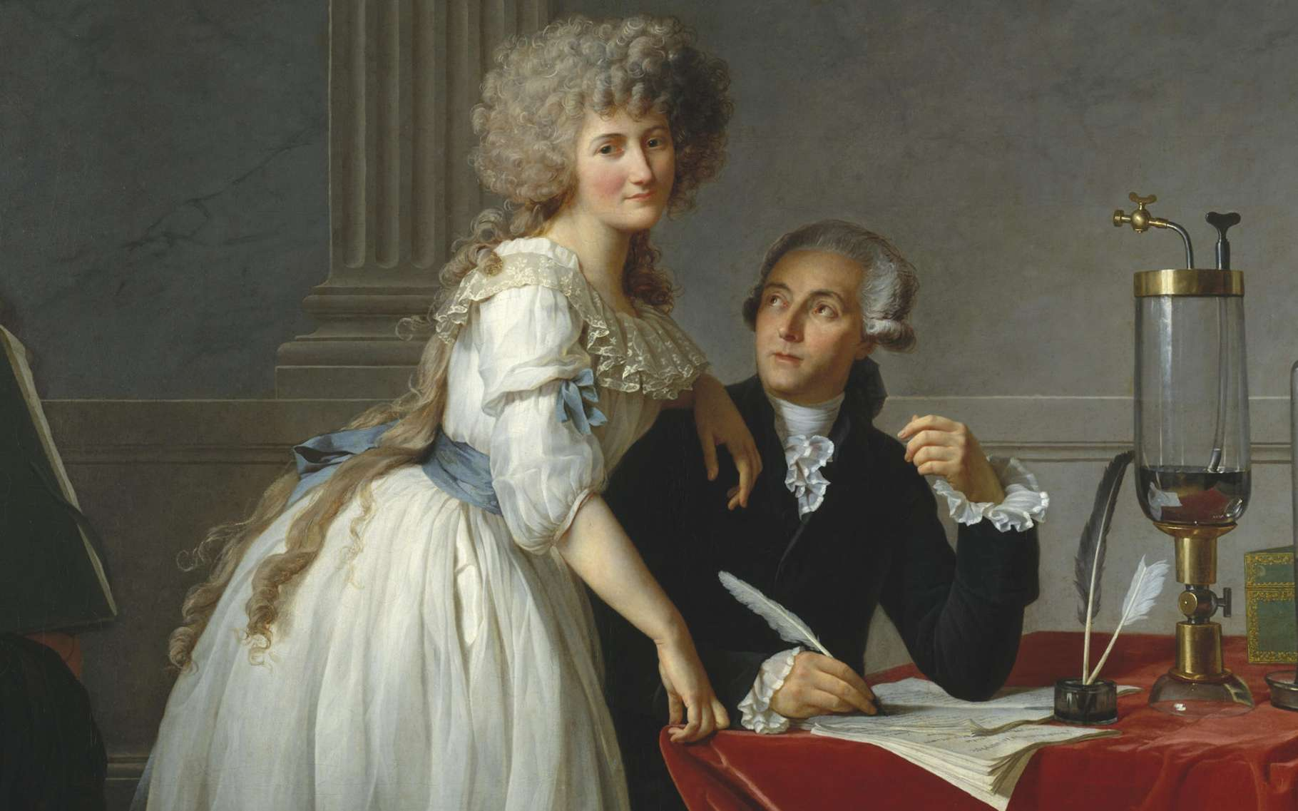 Antoine Lavoisier est considéré comme le père de la chimie moderne. Il est représenté accompagné de sa femme, Marie-Anne Lavoisier, sur ce portrait réalisé par Jacques-Louis David en 1788. © Wikimedia Commons, DP