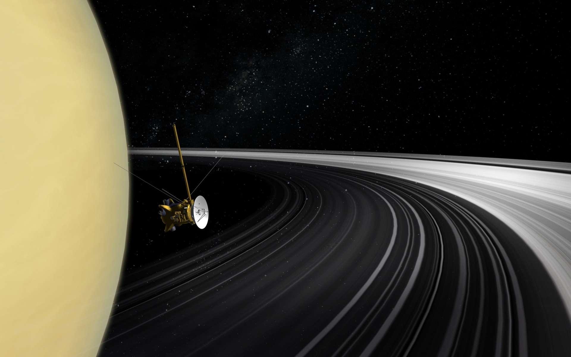 Saturne et ses anneaux vus depuis Cassini en janvier 2007. © Nasa, JPL