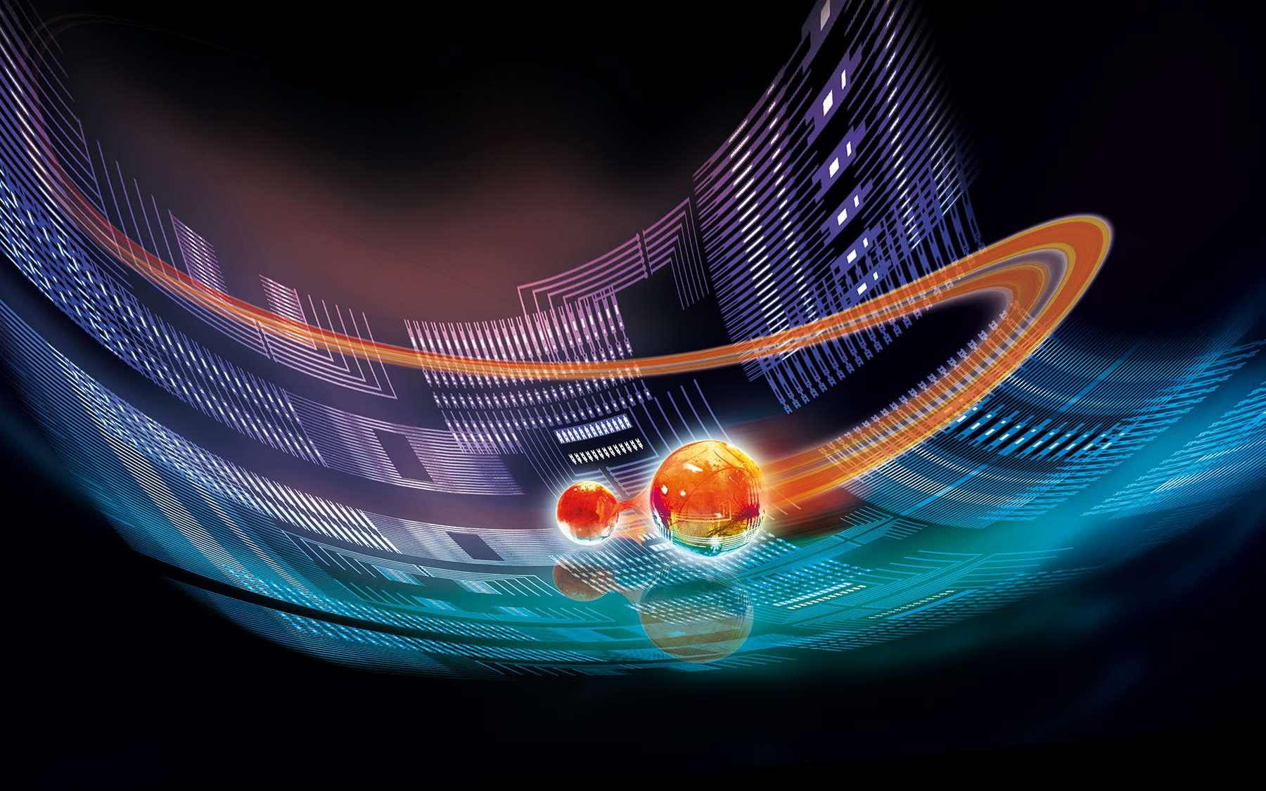 Une vue d'artiste d'une puce quantique avec des particules intriquées. © IQOQI Innsbruck, Harald Ritsch