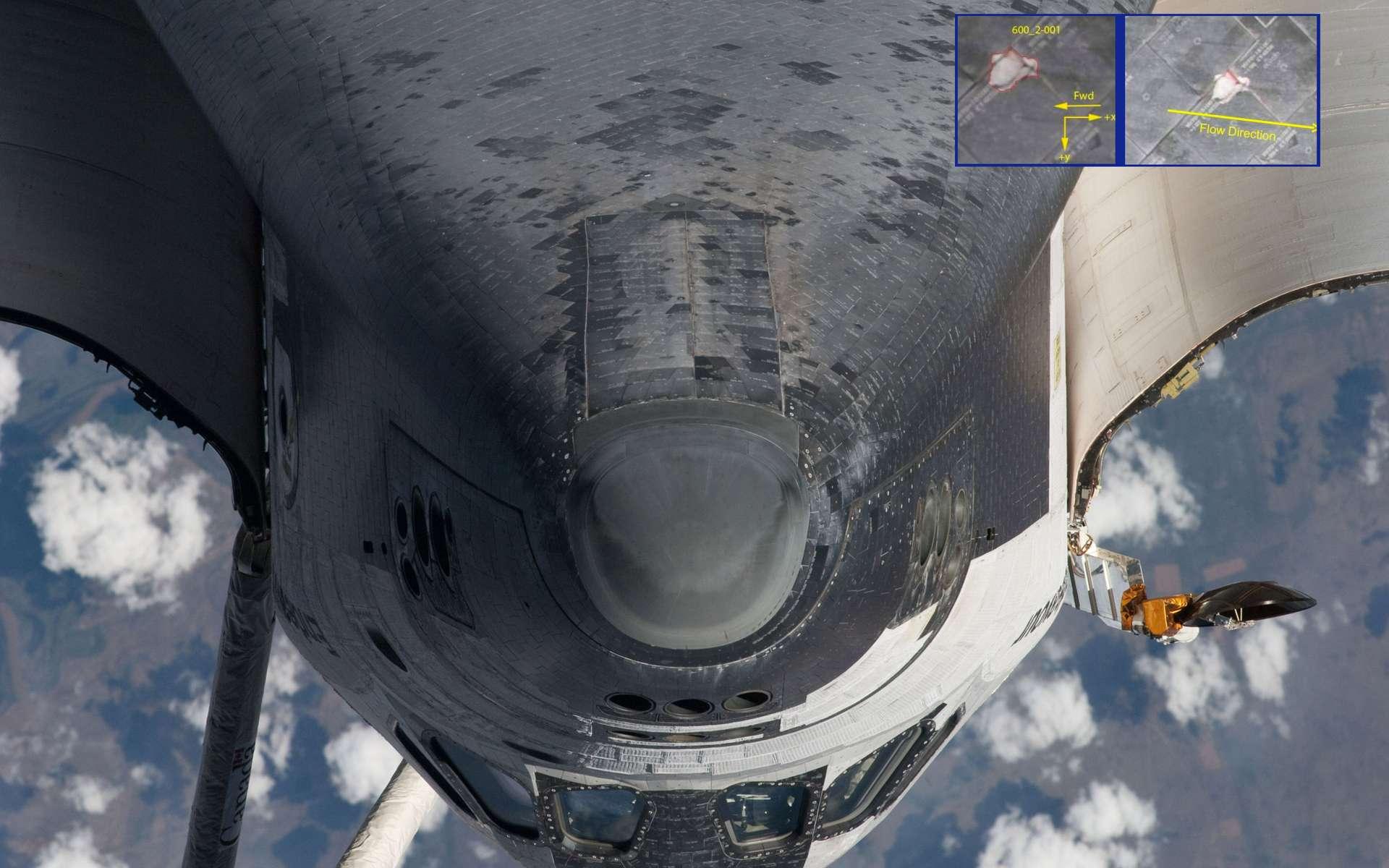 La Nasa a conclu que la faille n'était pas assez profonde pour être problématique et qu'il n'était pas nécessaire de procéder à une réparation en orbite. © Nasa
