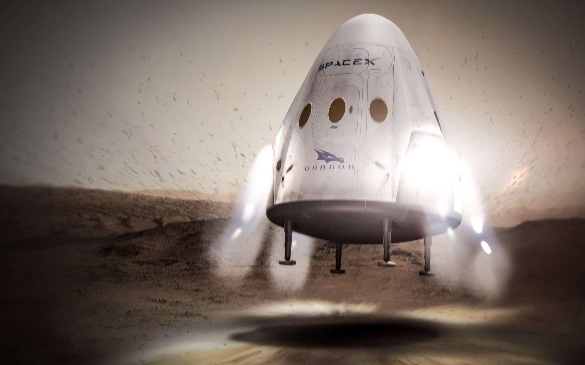 À l'exception de la mission de 2018, la Nasa devrait installer des expériences scientifiques sur les capsules Red Dragon qui, tous les 26 mois, s'envoleront à destination de la Planète rouge. © SpaceX