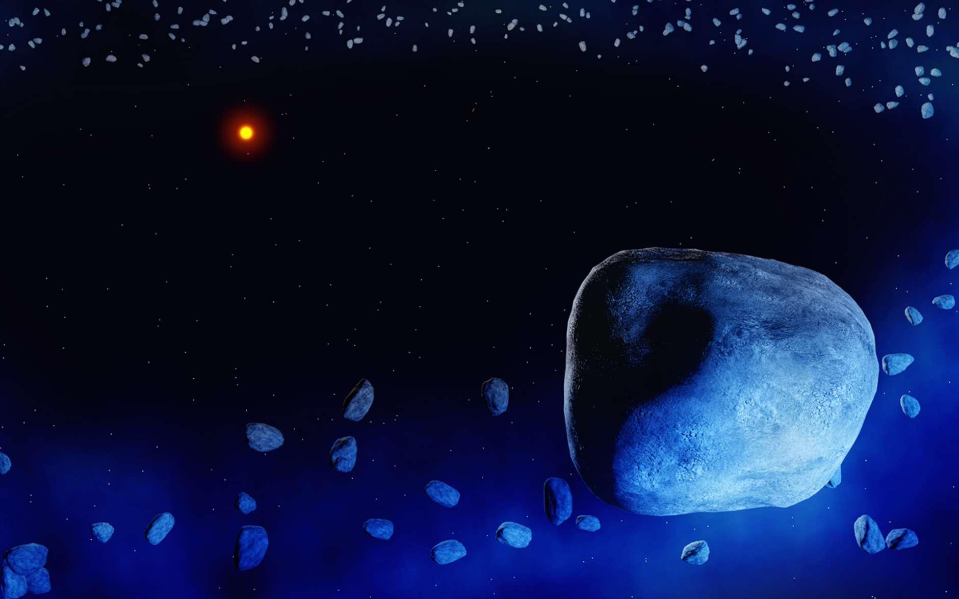 Une vue d'artiste d'un équivalent de la ceinture de Kuiper, riche en exocomète, autour d'une jeune étoile similaire au Soleil mais âgée de seulement 23 millions d'années. © Amanda Smith, University of Cambridge