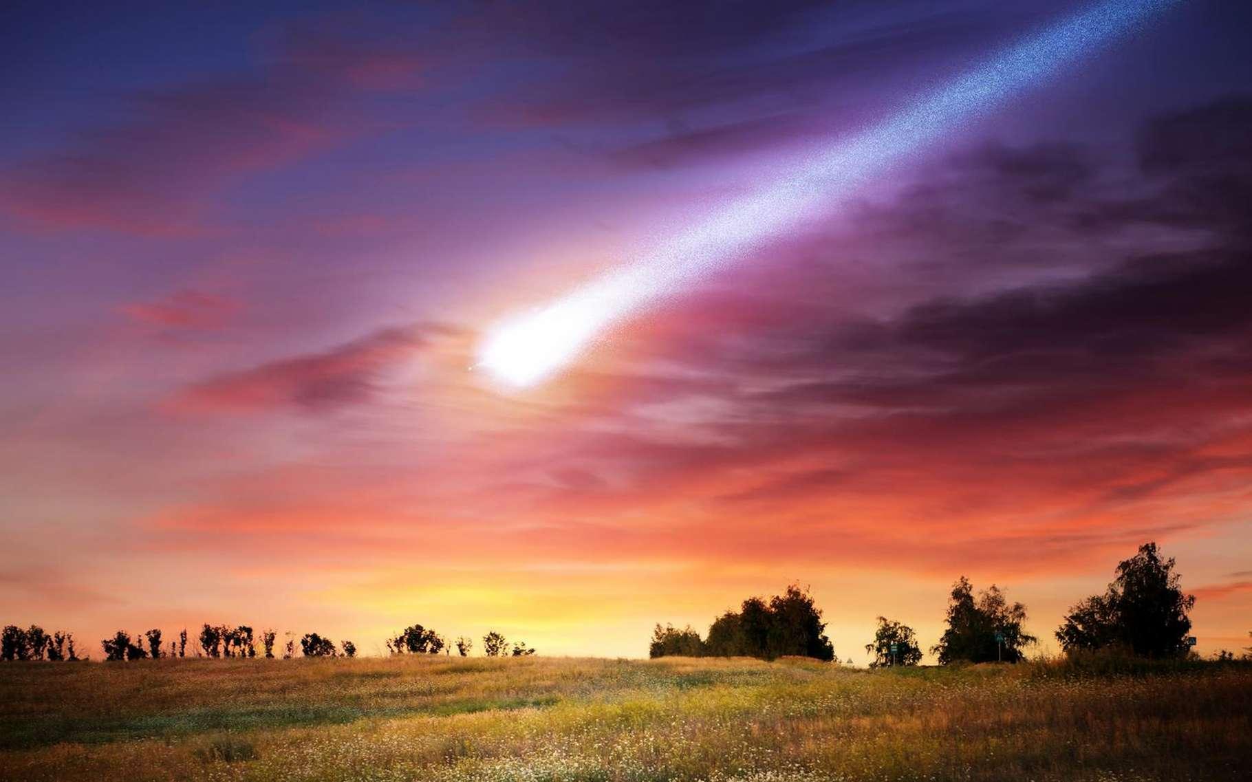Un bolide est un météoroïde de grande taille qui laisse dans le ciel une trace lumineuse persistante. Image d'artiste inspirée d'éléments fournis par la Nasa. © Triff, Shutterstock