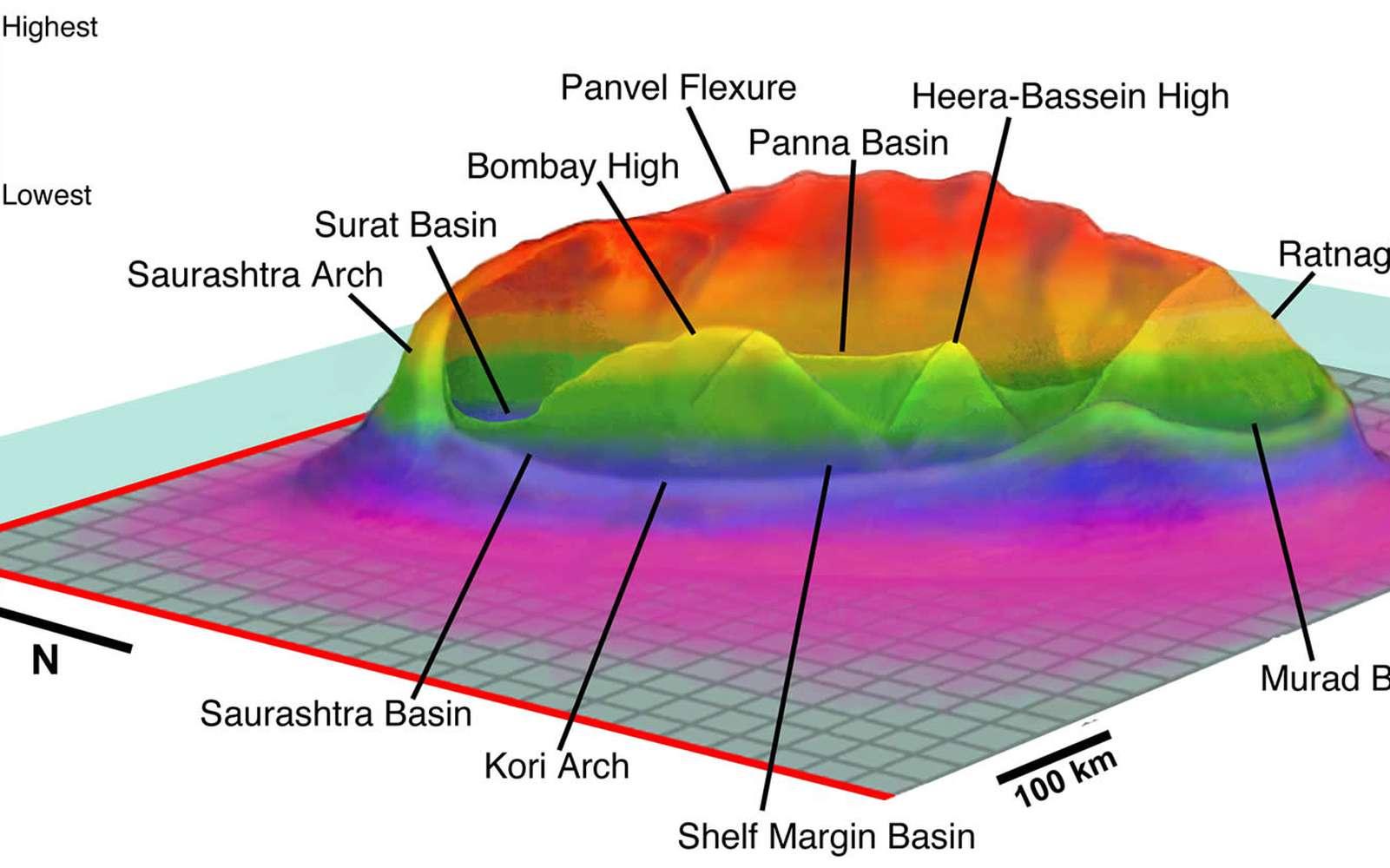La structure du présumé cratère Shiva selon Sankar Chatterjee. Crédit : Sankar Chatterjee
